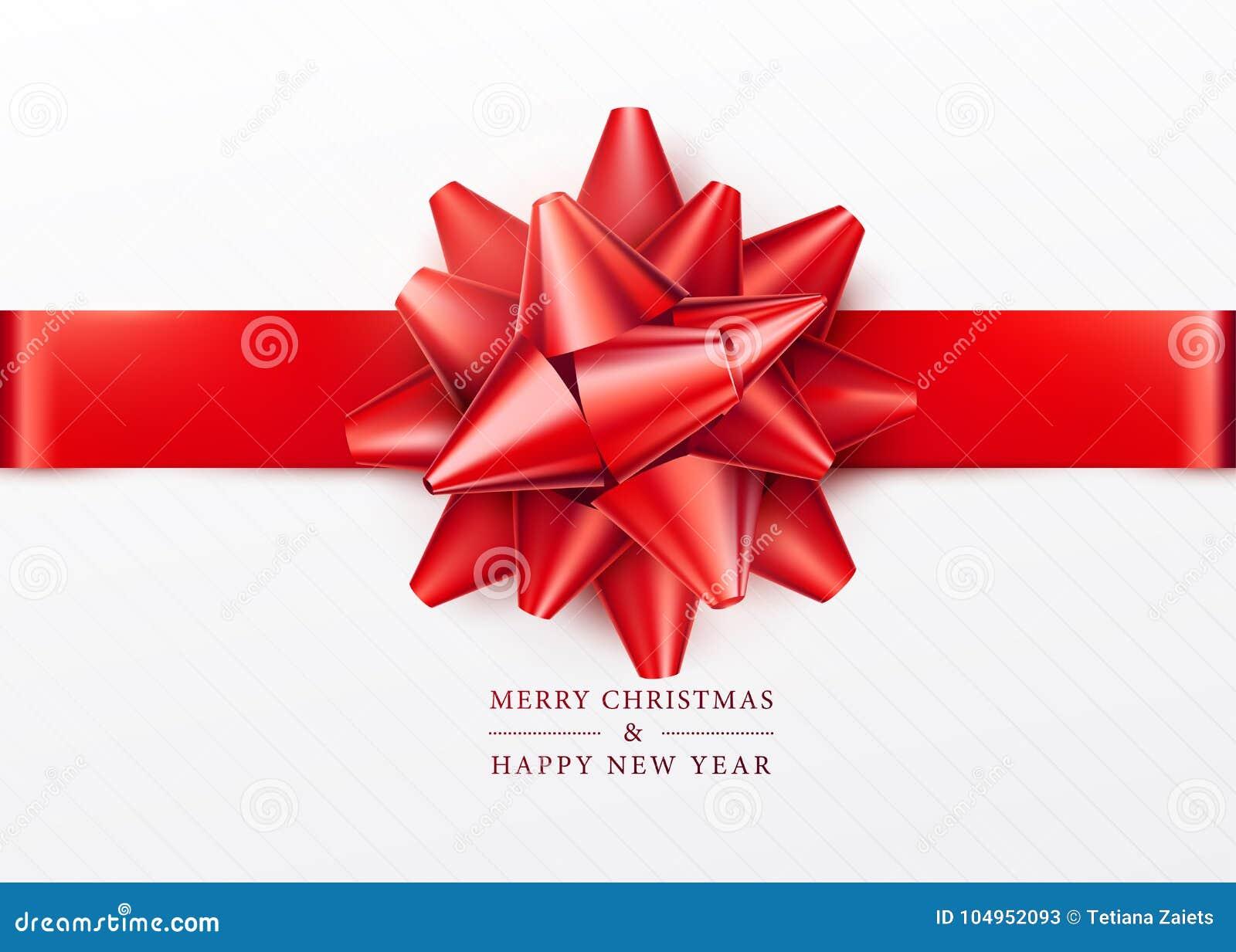 La Navidad Caja de regalo blanca con el arco rojo y la cinta horizontal