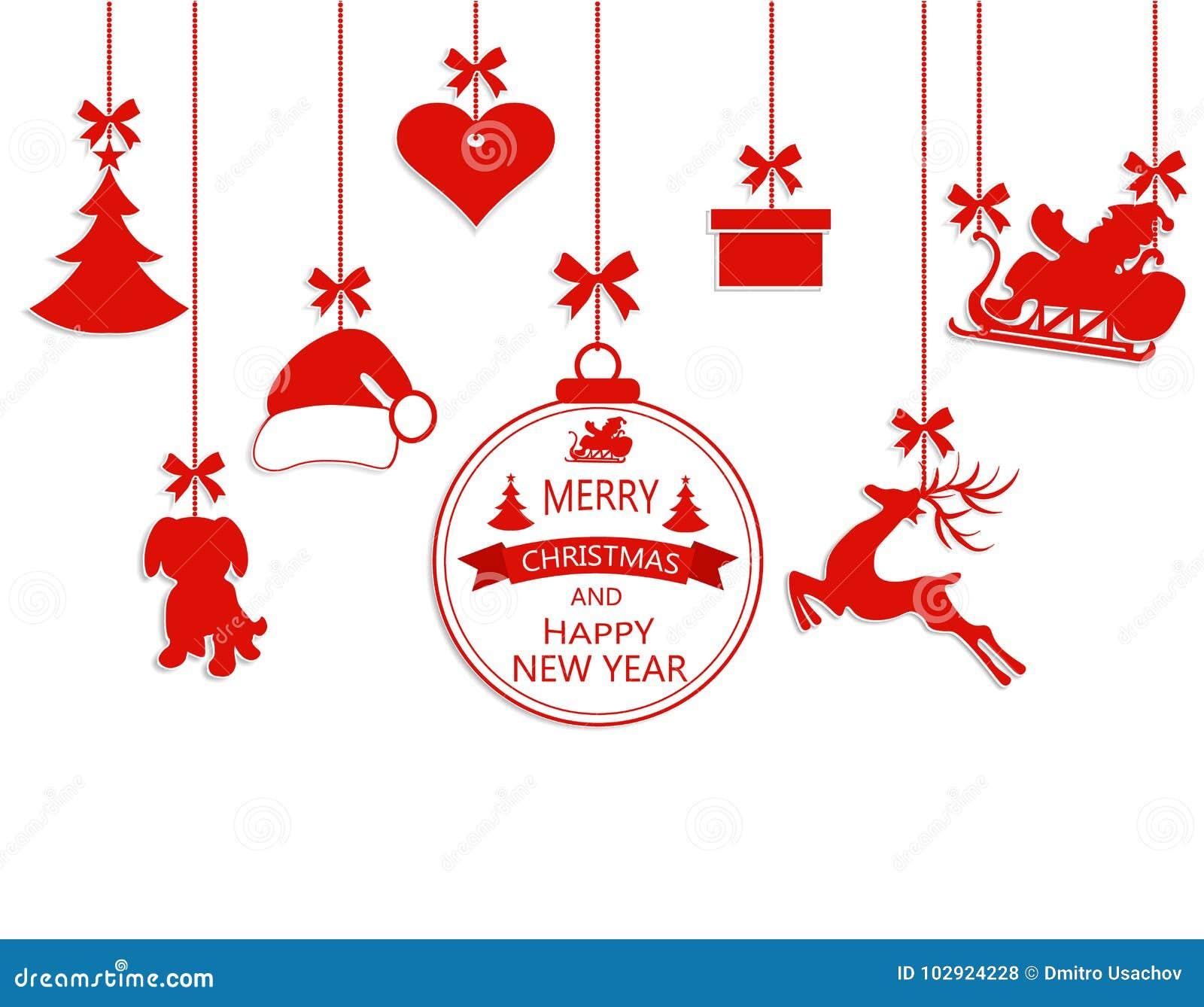La Navidad del Año Nuevo Diverso ornamentos de la ejecución, sombrero de Papá Noel, reno, corazón, regalo, perro y árbol de navid