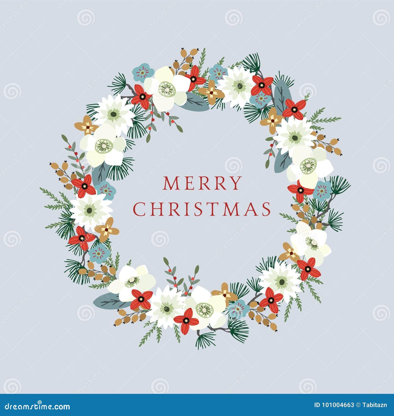 La Navidad del vintage, tarjeta de felicitación del Año Nuevo, invitación con el ejemplo de la guirnalda floral decorativa hecha