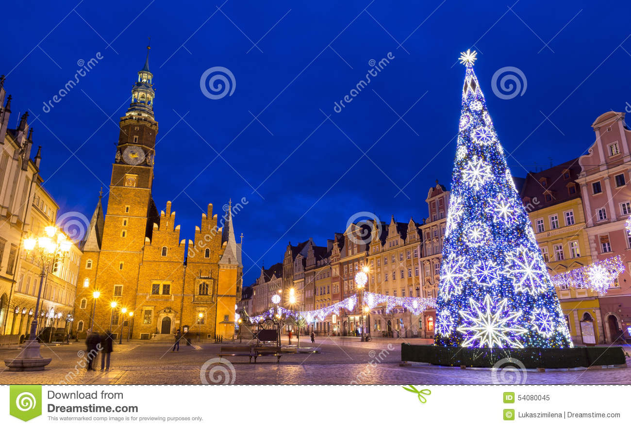 la navidad en wroclaw en la noche polonia foto de archivo. Black Bedroom Furniture Sets. Home Design Ideas