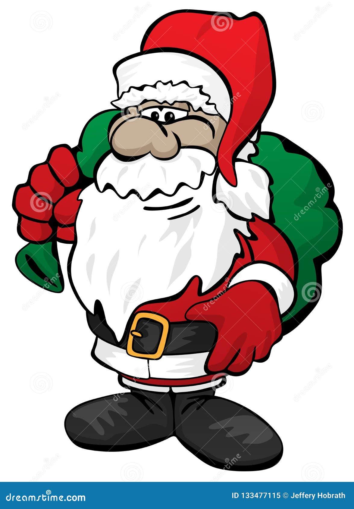 La Navidad linda Santa Claus con Toy Sack Cartoon Vector Illustration