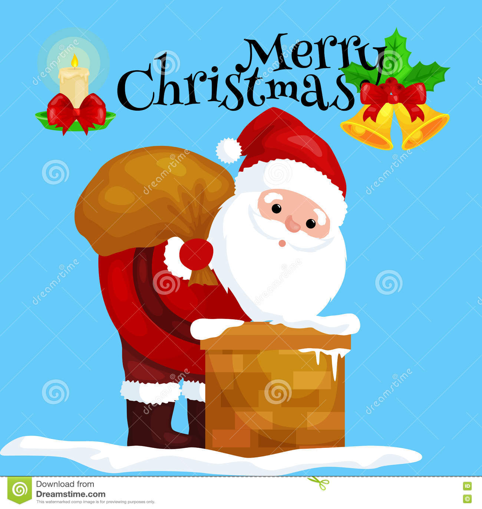 La Navidad Santa Claus en traje rojo con el bolso lleno de regalos en las subidas de la chimenea que darían presentes el Nochebue