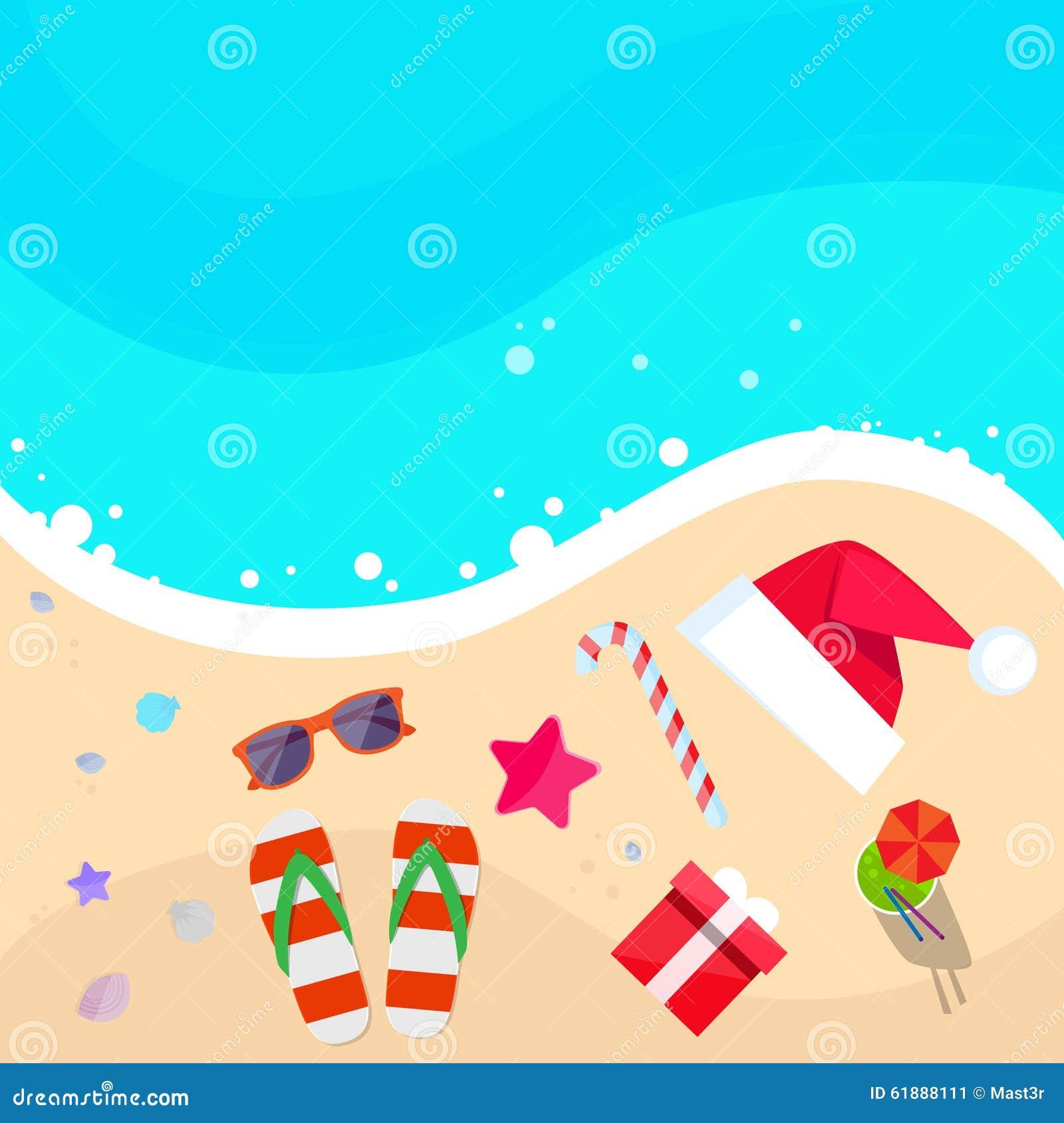 La Navidad Santa Hat en la playa del océano Flip-flops la arena