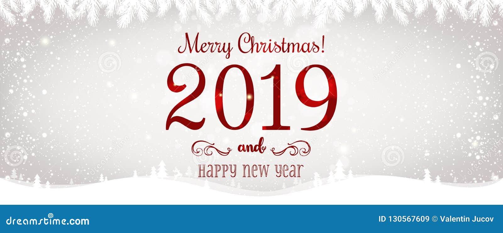 La Navidad y el Año Nuevo tipográficos en fondo brillante de Navidad con invierno ajardinan con los copos de nieve, se encienden,