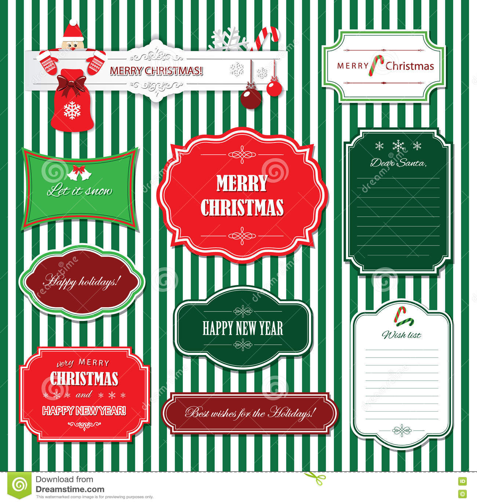 La Navidad y marcos y banderas de la Feliz Año Nuevo