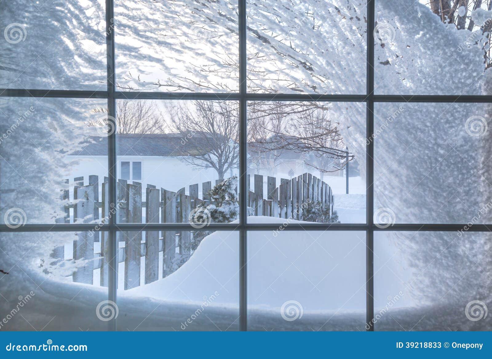 la neige a couvert la fen tre photo stock image 39218833