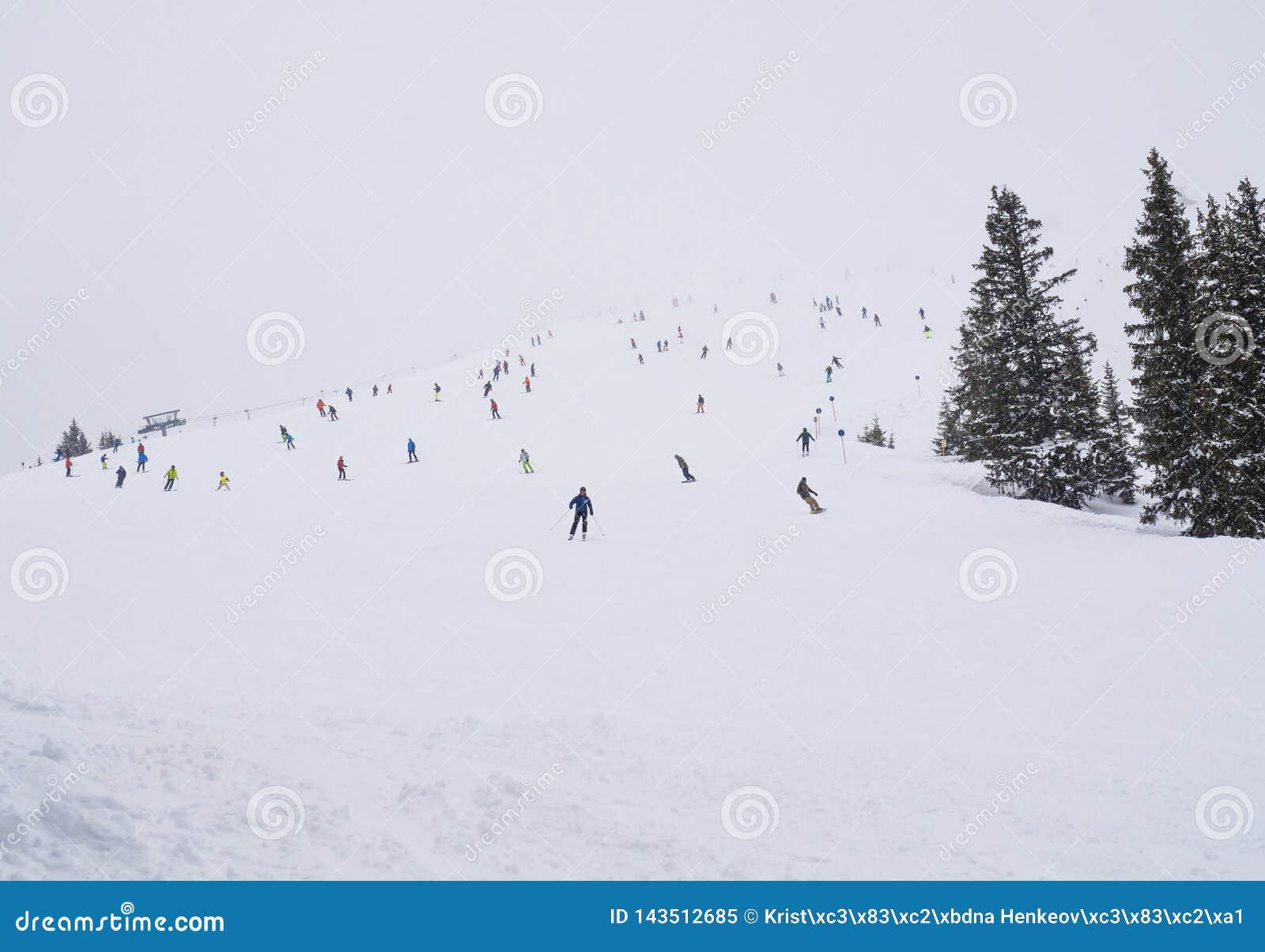La neige a couvert la piste de pente de ski dans Zell AM voient avec la foule des skieurs colorés le jour brumeux d hiver, l espa