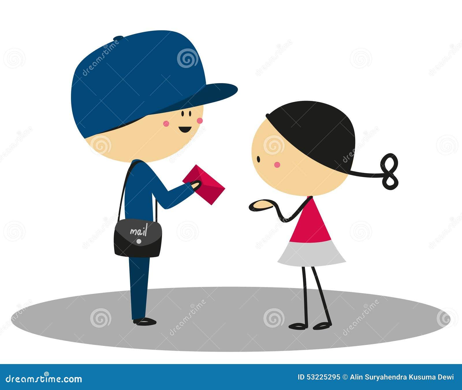 La niña del garabato recibió una letra del cartero - a todo color
