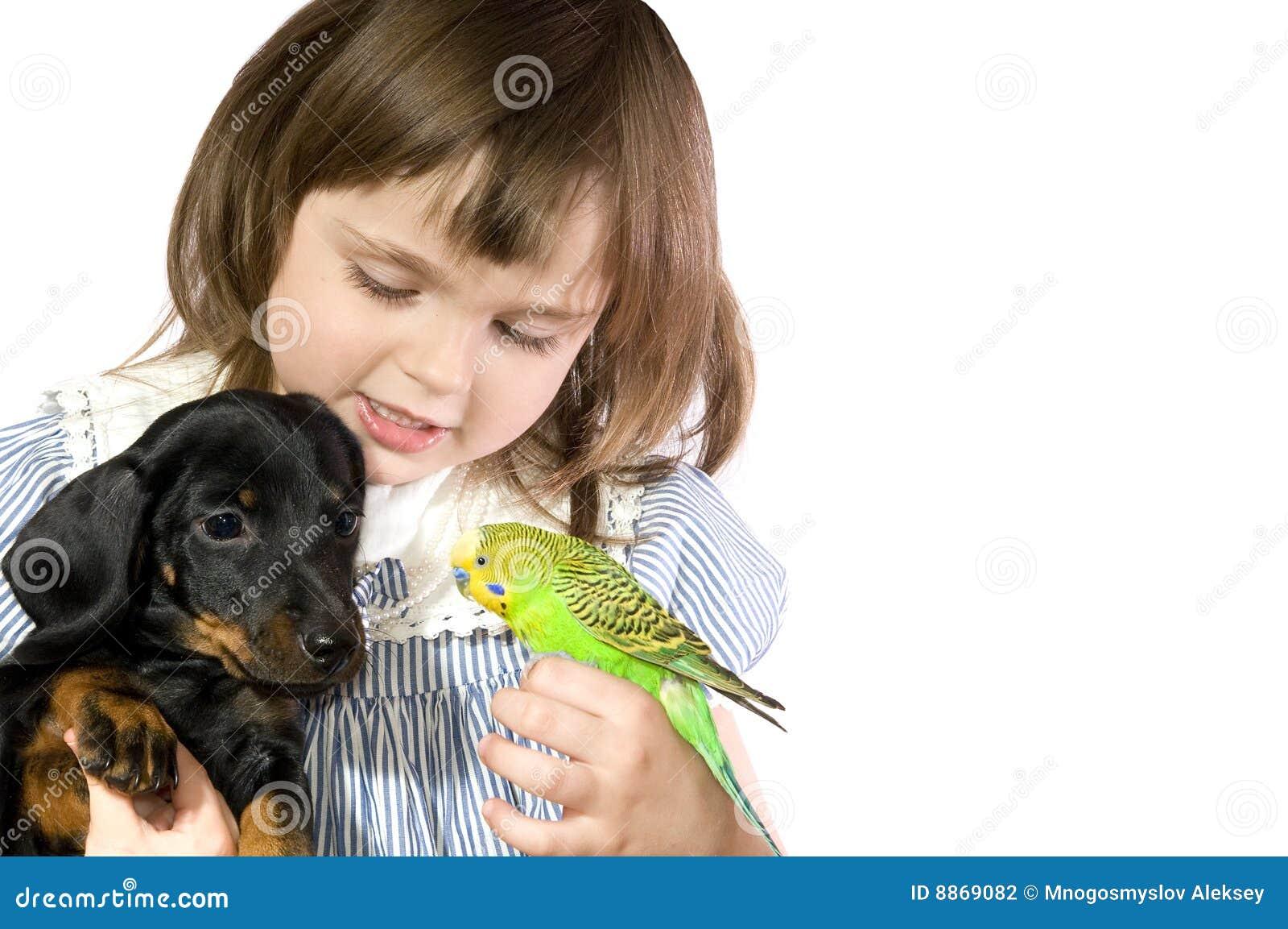 La niña sostiene el loro y el perro