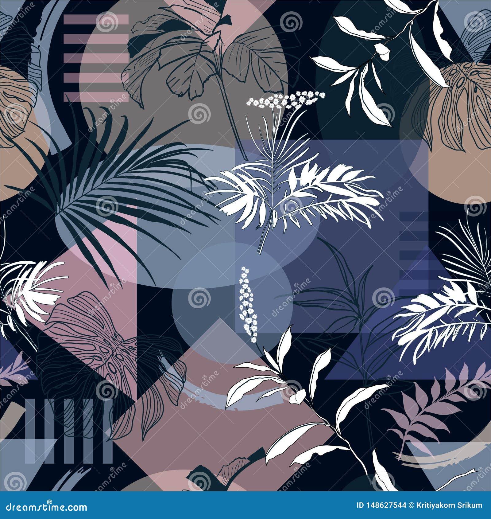 La noche de verano azul marino monótona de la forma geométrica con el bosque tropical deja a raya moderna del humor el modelo inc
