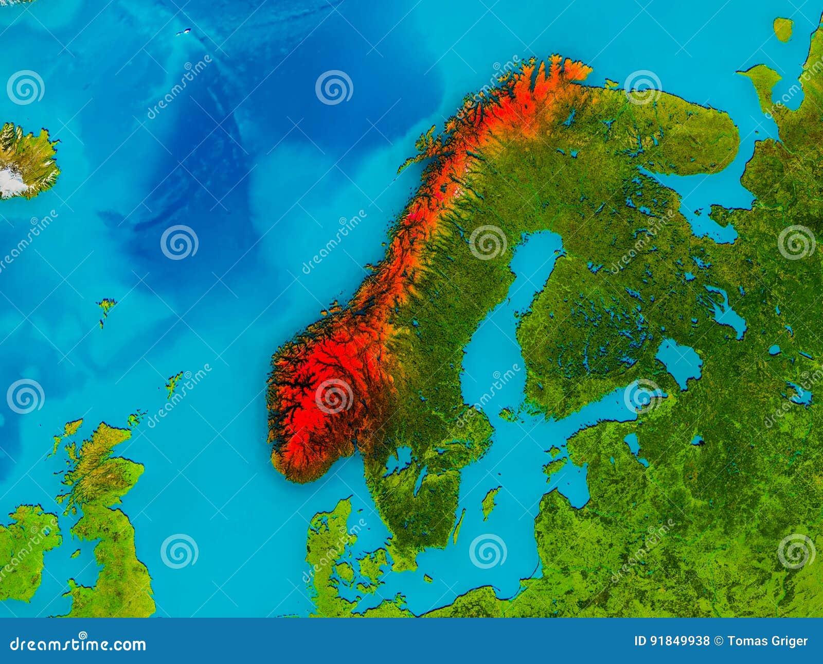 La Norvegia Cartina.La Norvegia Sulla Mappa Fisica Illustrazione Di Stock Illustrazione Di Evidenziato Terra 91849938