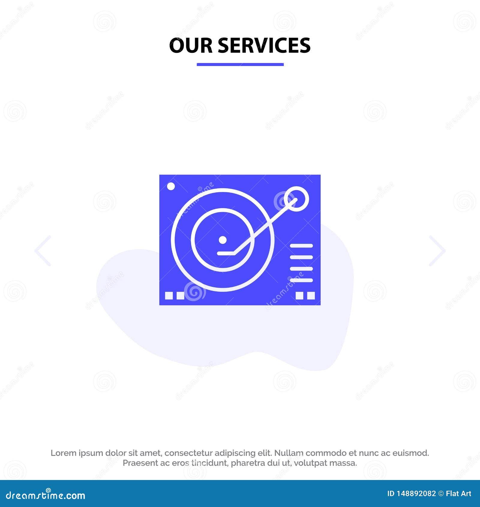 La nostra piattaforma di servizi, dispositivo, fonografo, giocatore, modello solido record della carta di web dell icona di glifo