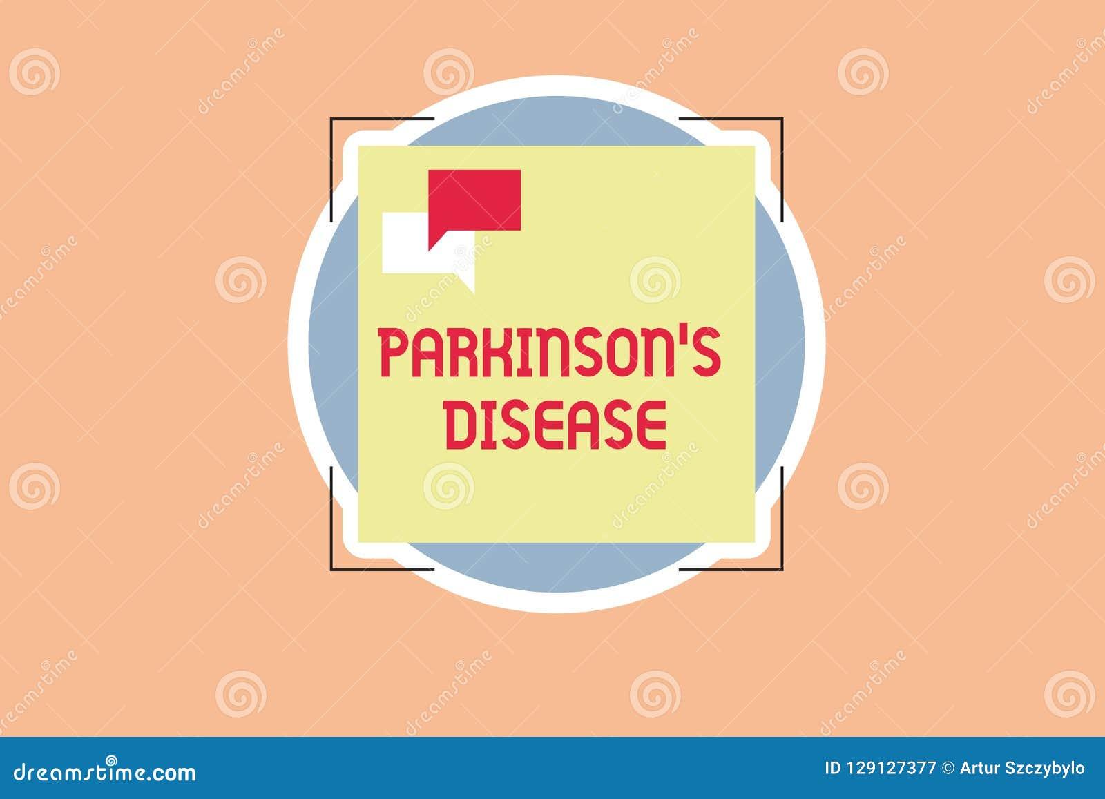 La nota de la escritura que muestra a Parkinson s es enfermedad Foto del negocio que muestra el desorden del sistema nervioso que