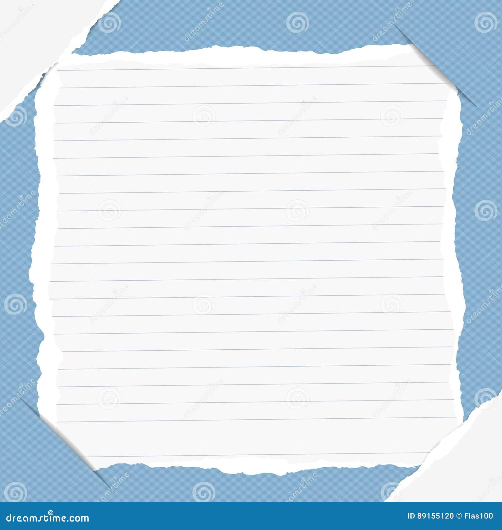 La nota gobernada rasgada, cuaderno, hoja del cuaderno insertada en fondo ajustado azul con blanco rasgó el papel en esquinas