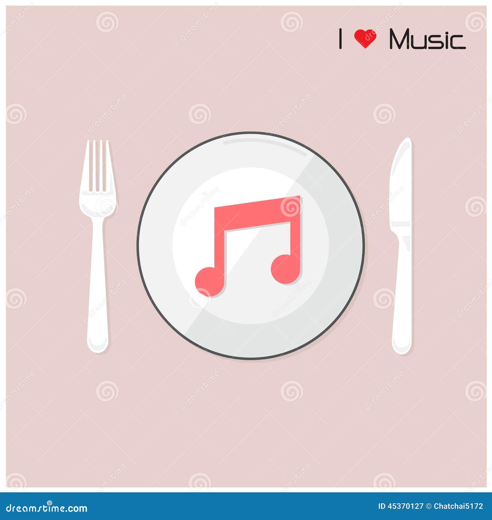 La note créative de musique se connectent le disque avec la fourchette et cuillère, j aime le mus