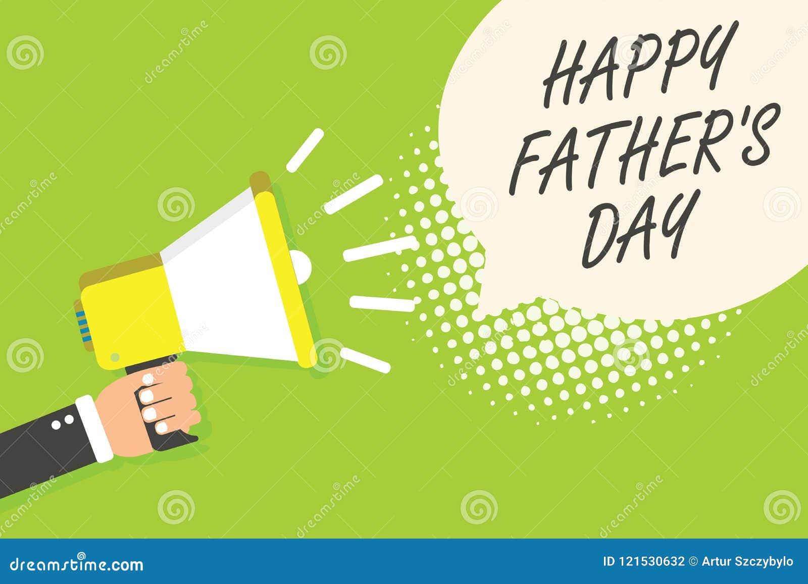 La note d écriture montrant le père heureux s est jour Époque de photo d affaires de présentation de célébrer le haut-parleur de