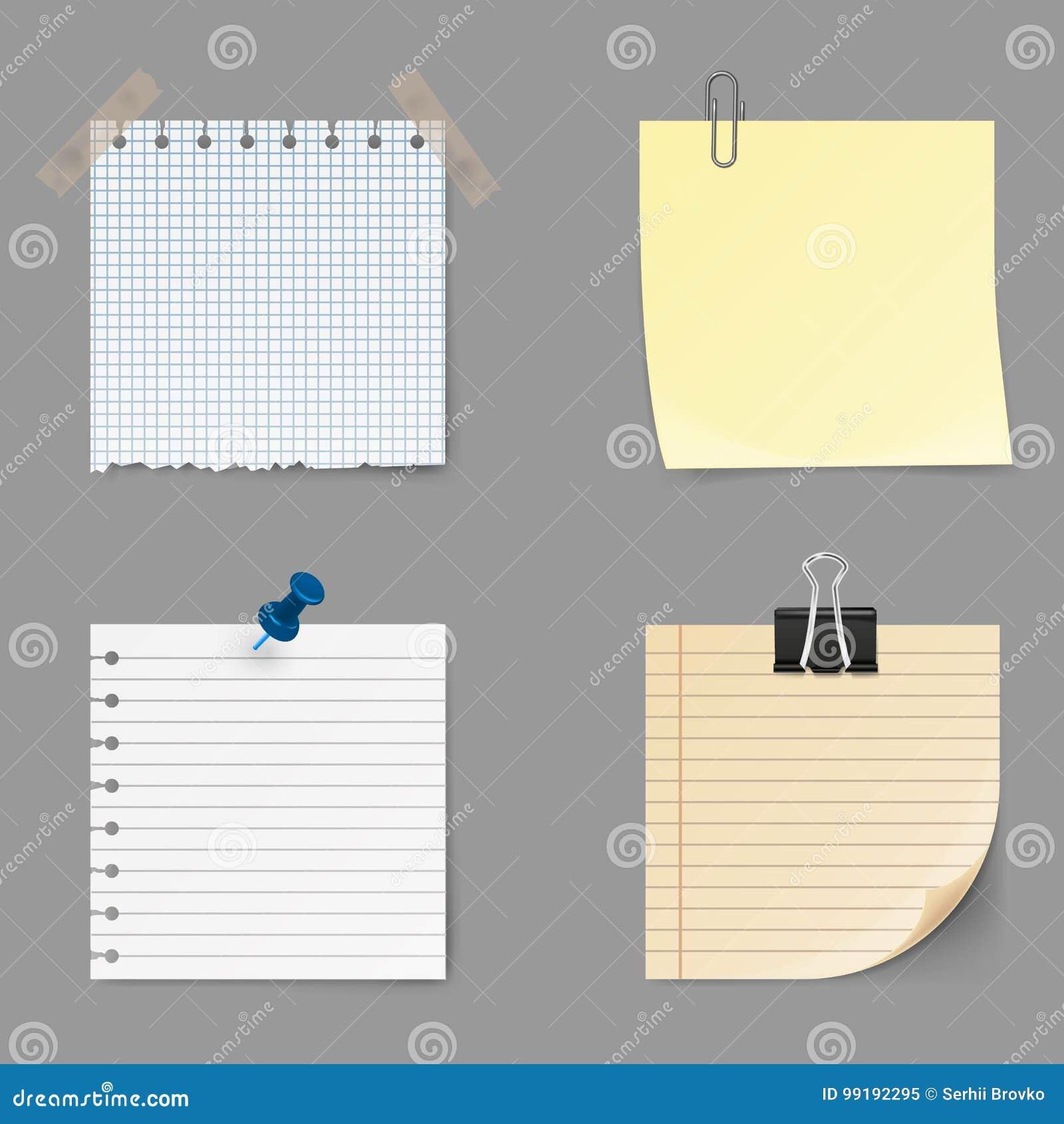 La note note des icônes Ensemble de collant jaune Note de post-it d isolement sur le fond