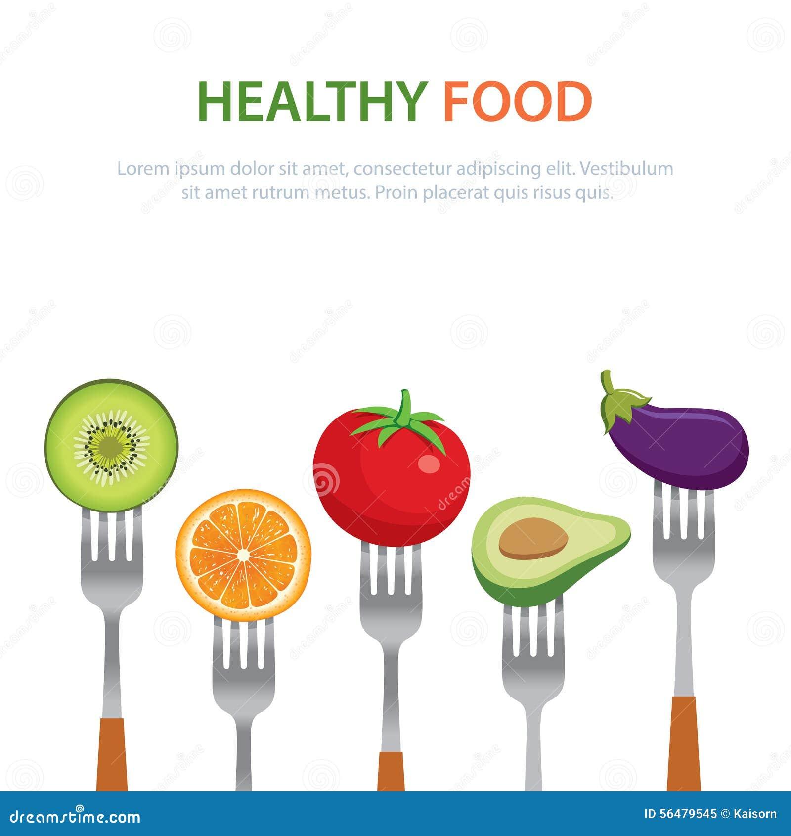 La nourriture saine sur les fourchettes suivent un régime des fruits et légumes de concept