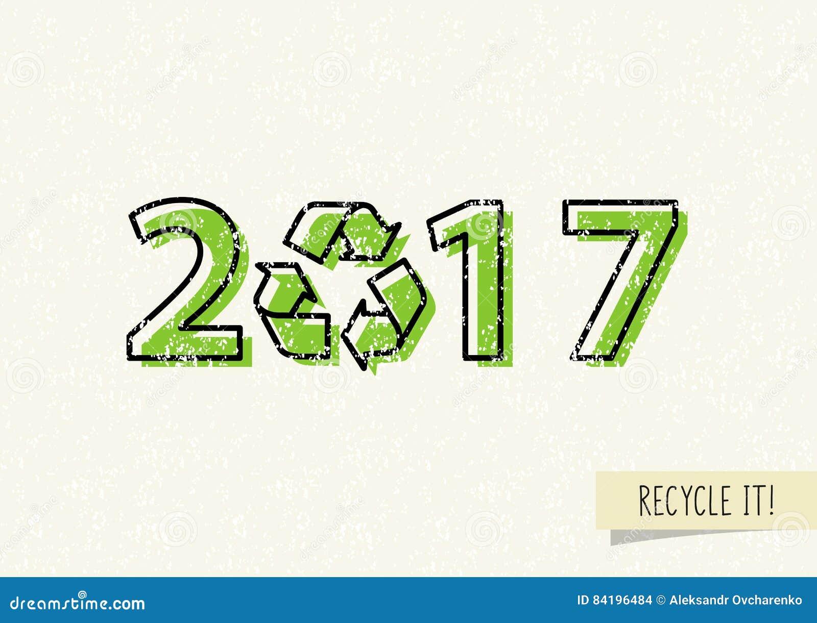 La nouvelle année 2017 avec réutilisent l illustration de vecteur de signe