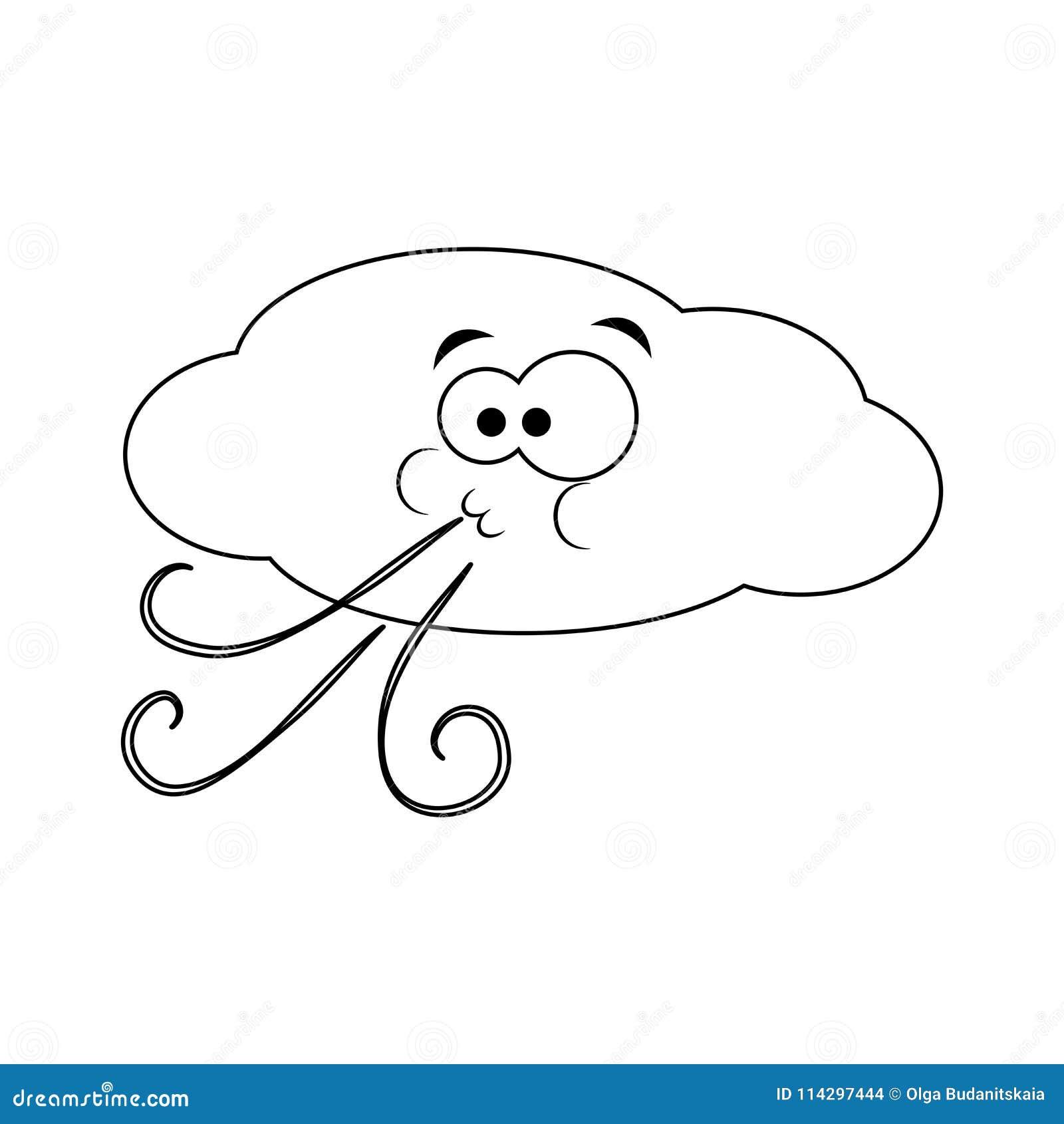 La Nuvola Divertente Incolore Del Fumetto Soffia Il Vento