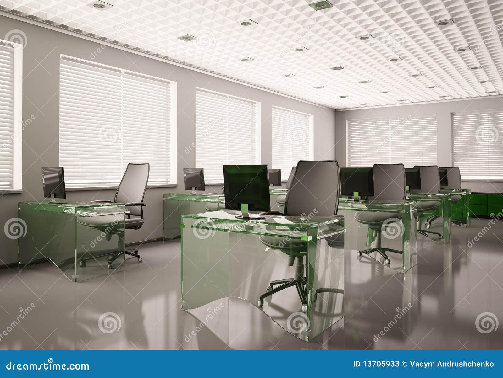 la oficina moderna con el vidrio tabula 3d stock de