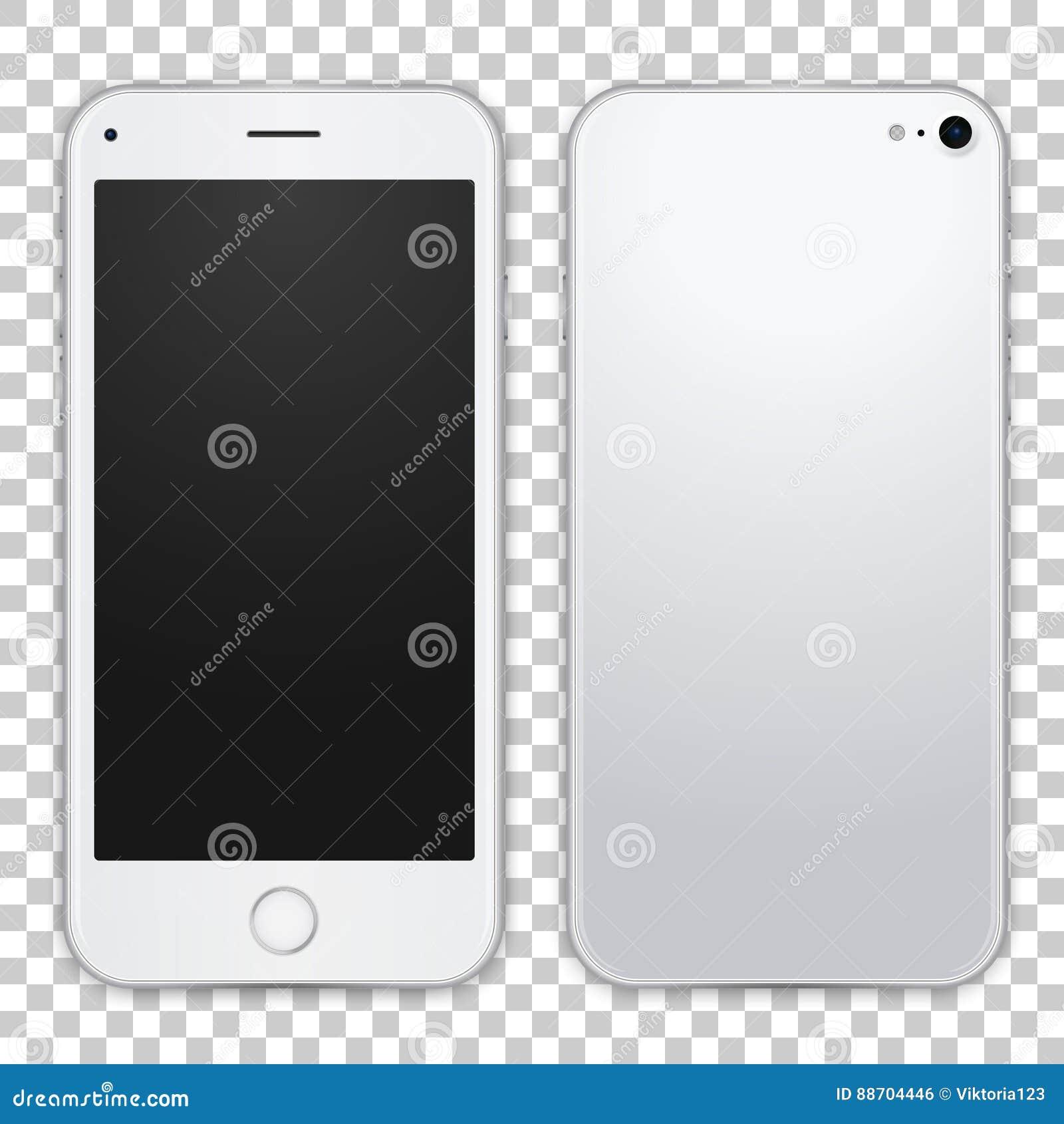 La opinión delantera y negra de la plantilla gris clara del smartphone, vector el ejemplo realista Mofa detallada del teléfono pa