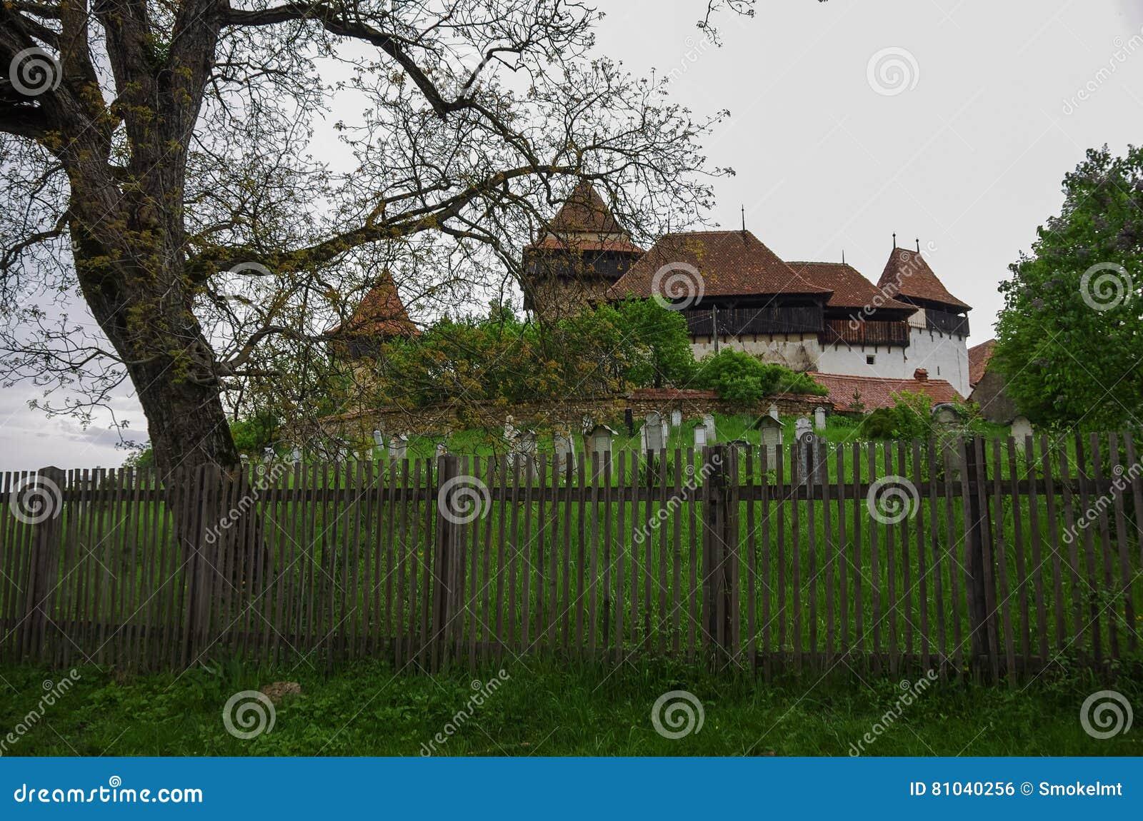 La opinión Viscri fortificó el castillo de la iglesia, Transilvania, Rumania,