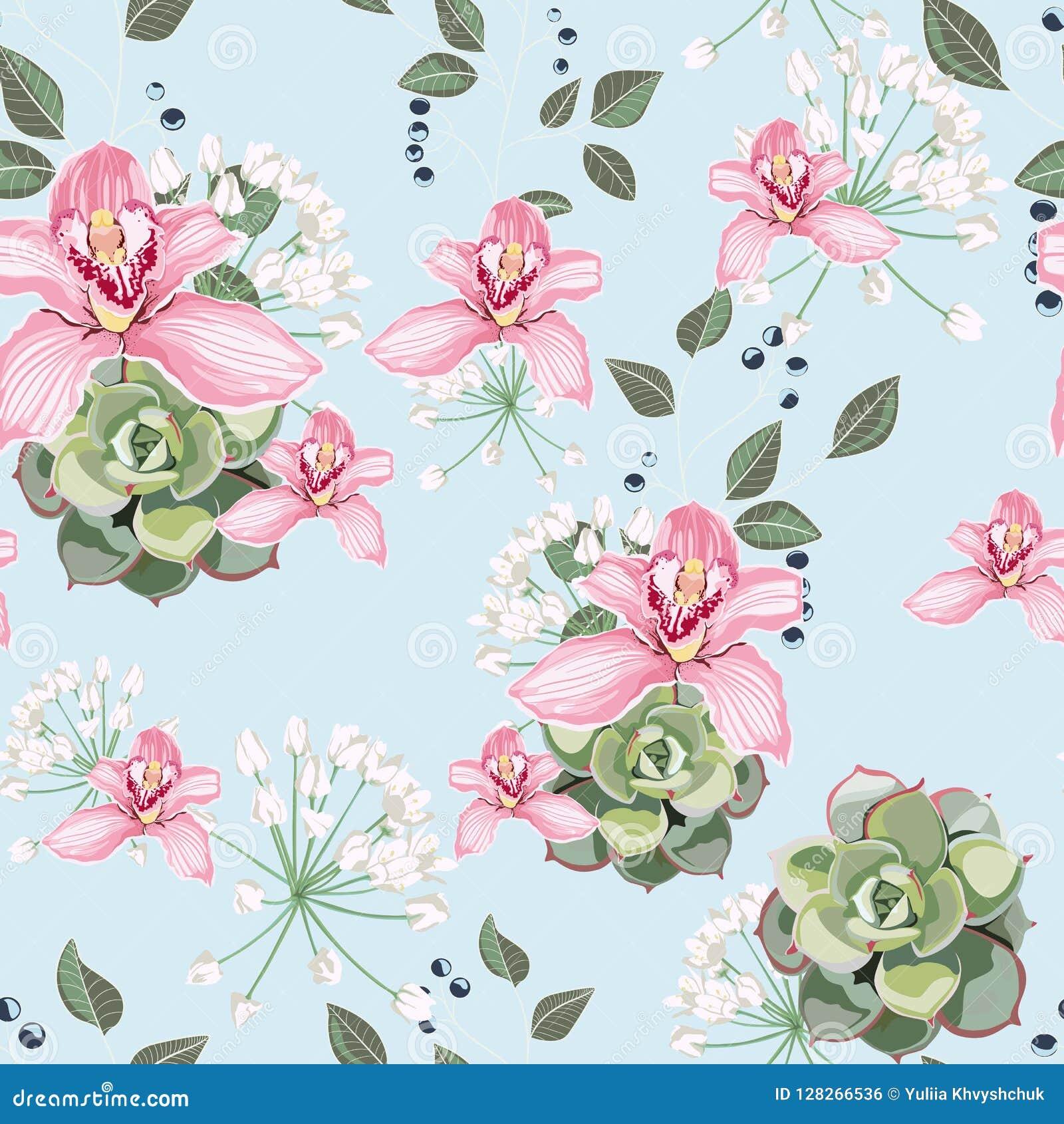 La orquídea suculenta y rosada del estilo de la acuarela florece el modelo inconsútil, rama de bayas, verdor