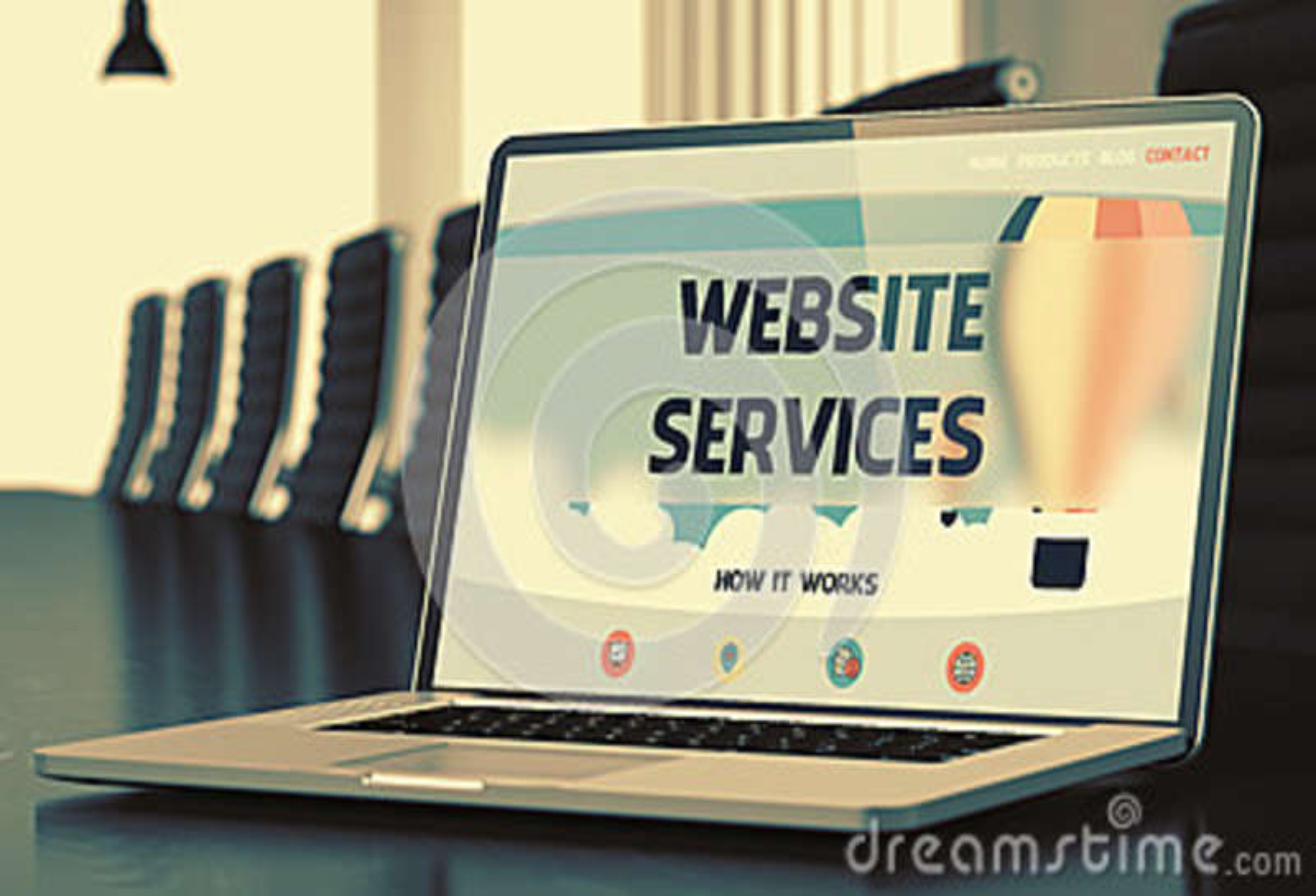 La página de aterrizaje del ordenador portátil con sitio web mantiene concepto 3d