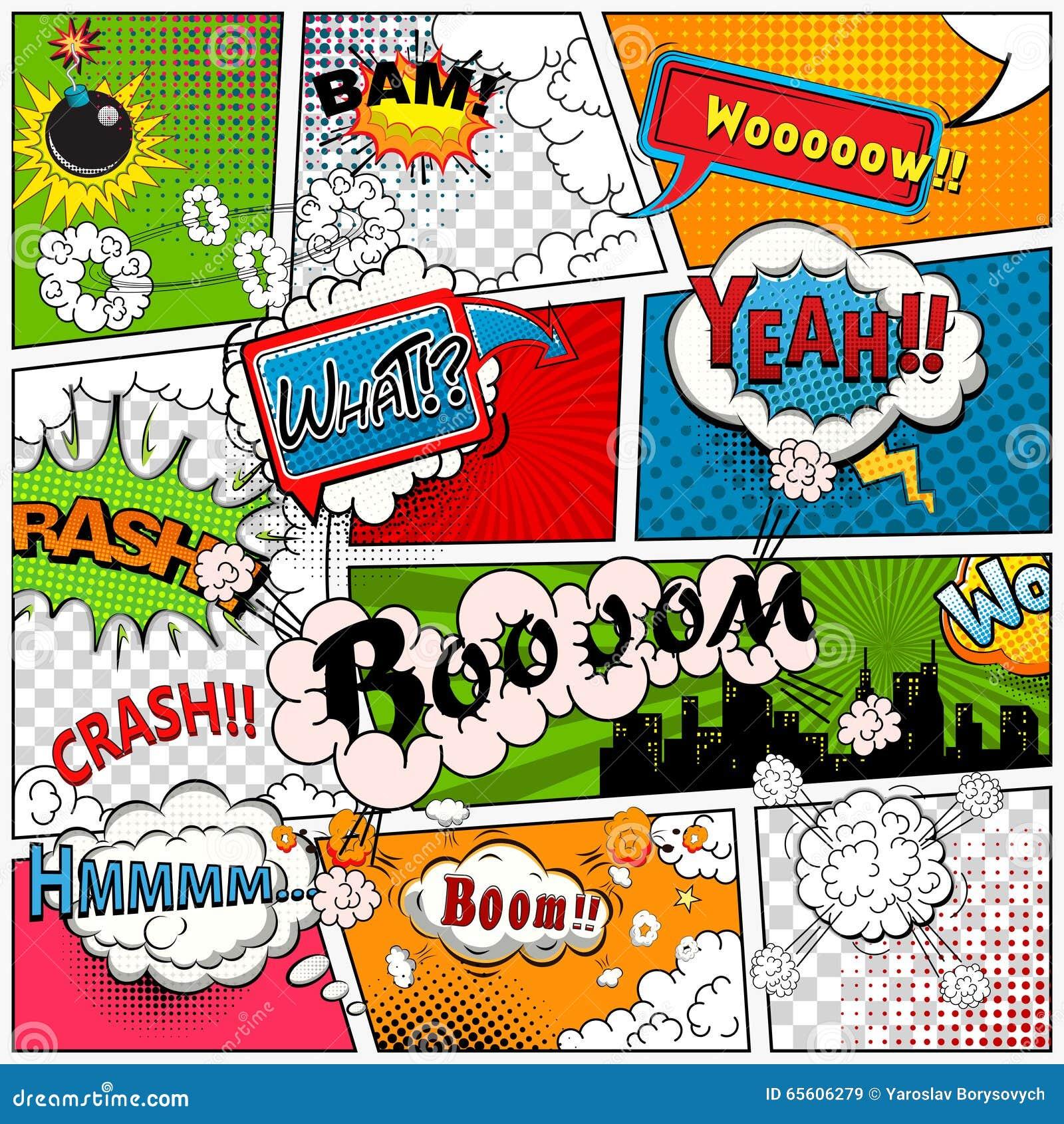 La página del cómic dividió por las líneas con las burbujas del discurso, efecto sonoro Maqueta retra del fondo Plantilla de los