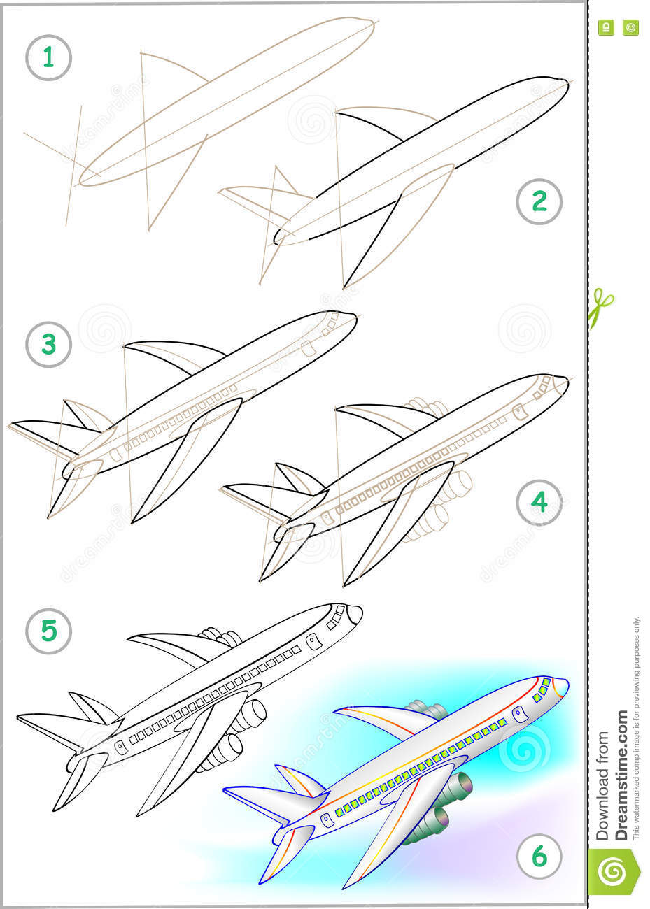 La page montre comment apprendre point par point - Avion a dessiner ...