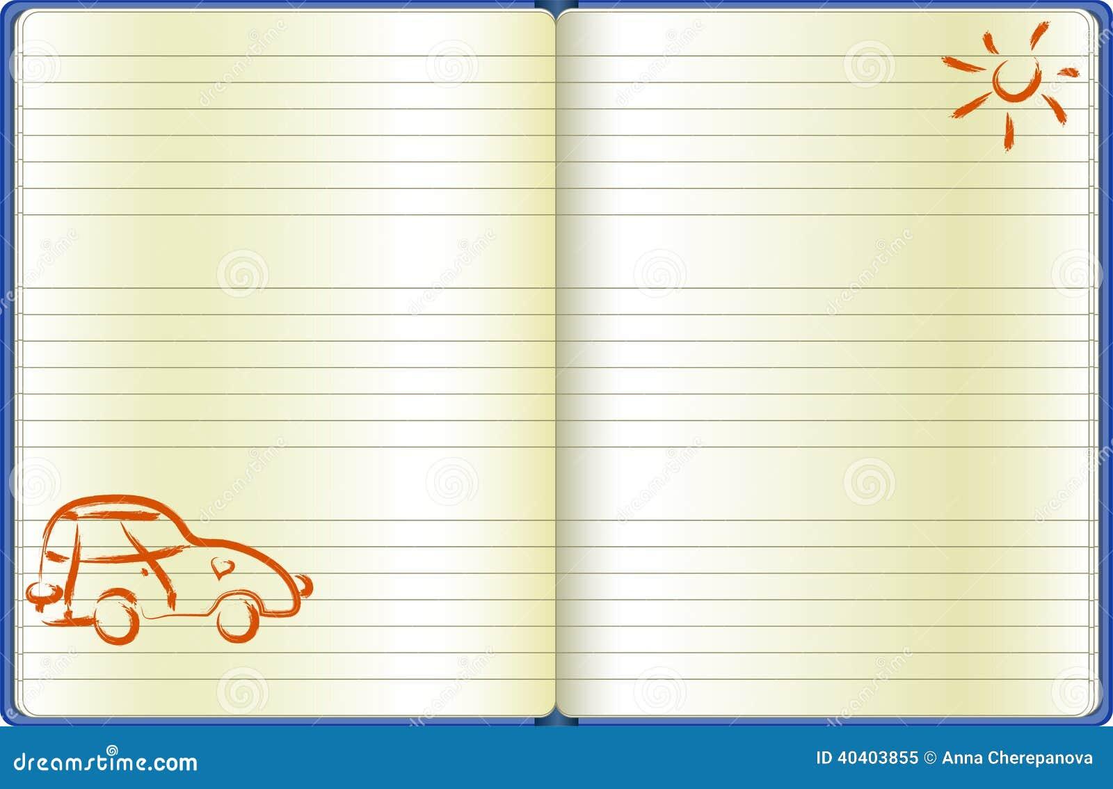 La pagina del taccuino con un automobile tirata