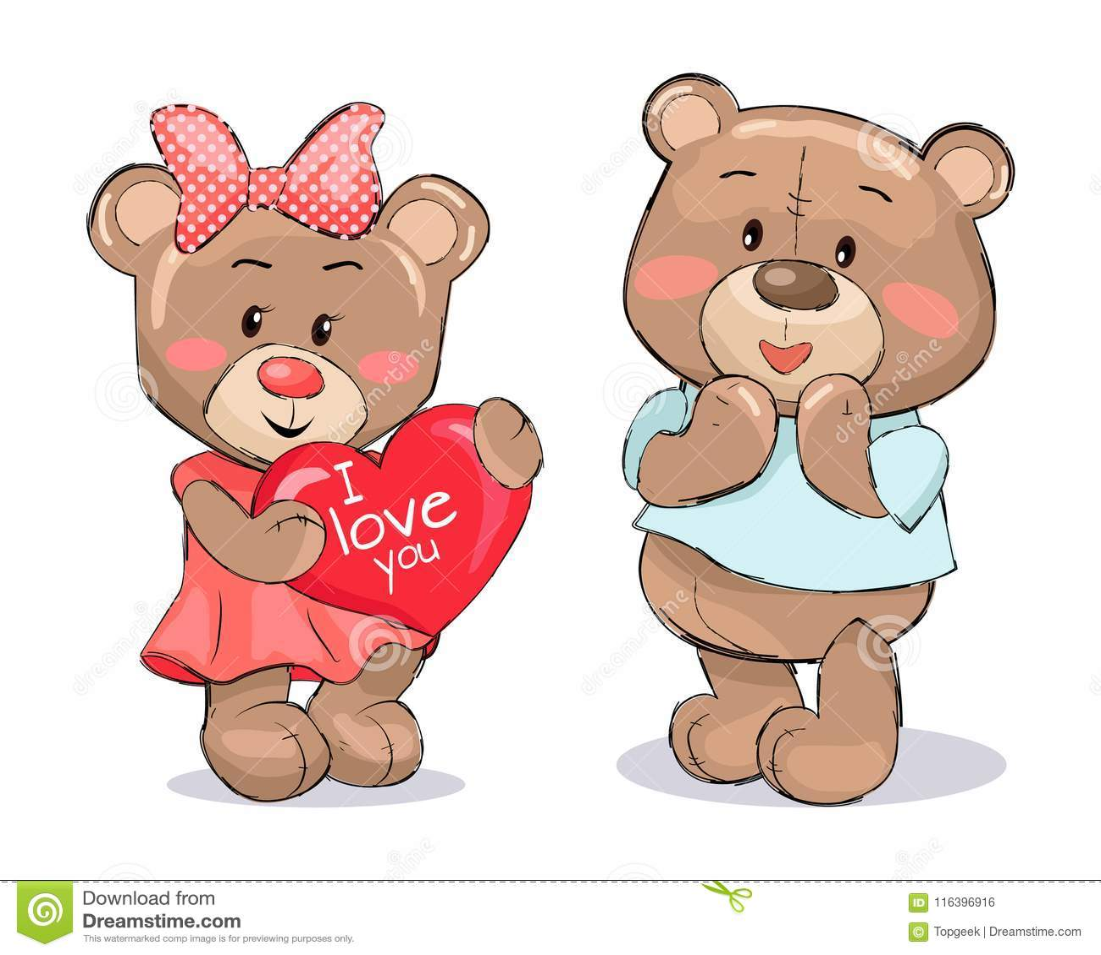 De La Coeur Paire Avec Pelucheux Le Mous Nounours Tient Le 2YWEDH9I