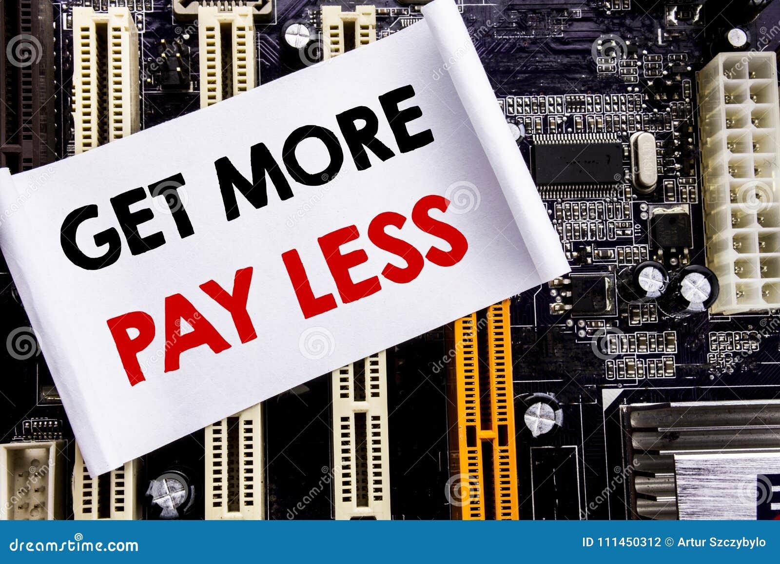 La palabra, escribiendo consigue a más paga menos Concepto del negocio para el concepto del lema del presupuesto escrito en la no