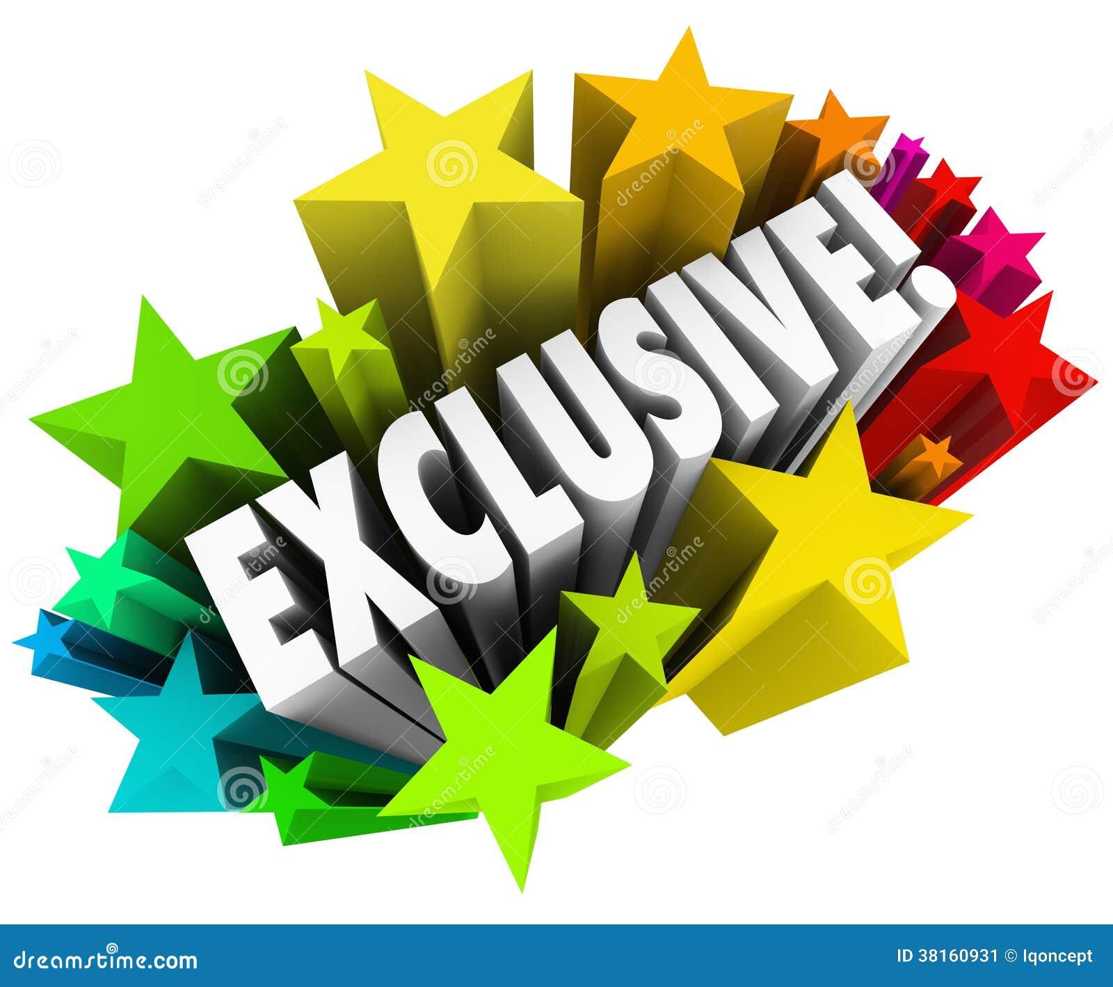 La palabra exclusiva protagoniza la publicidad del producto del contenido del acceso especial
