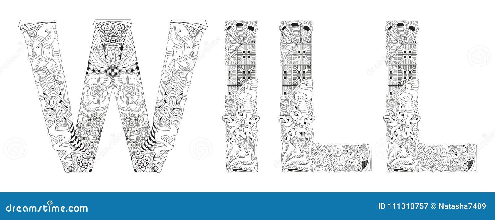 La Palabra Para Colorear Objeto Decorativo Del Zentangle Del Vector ...