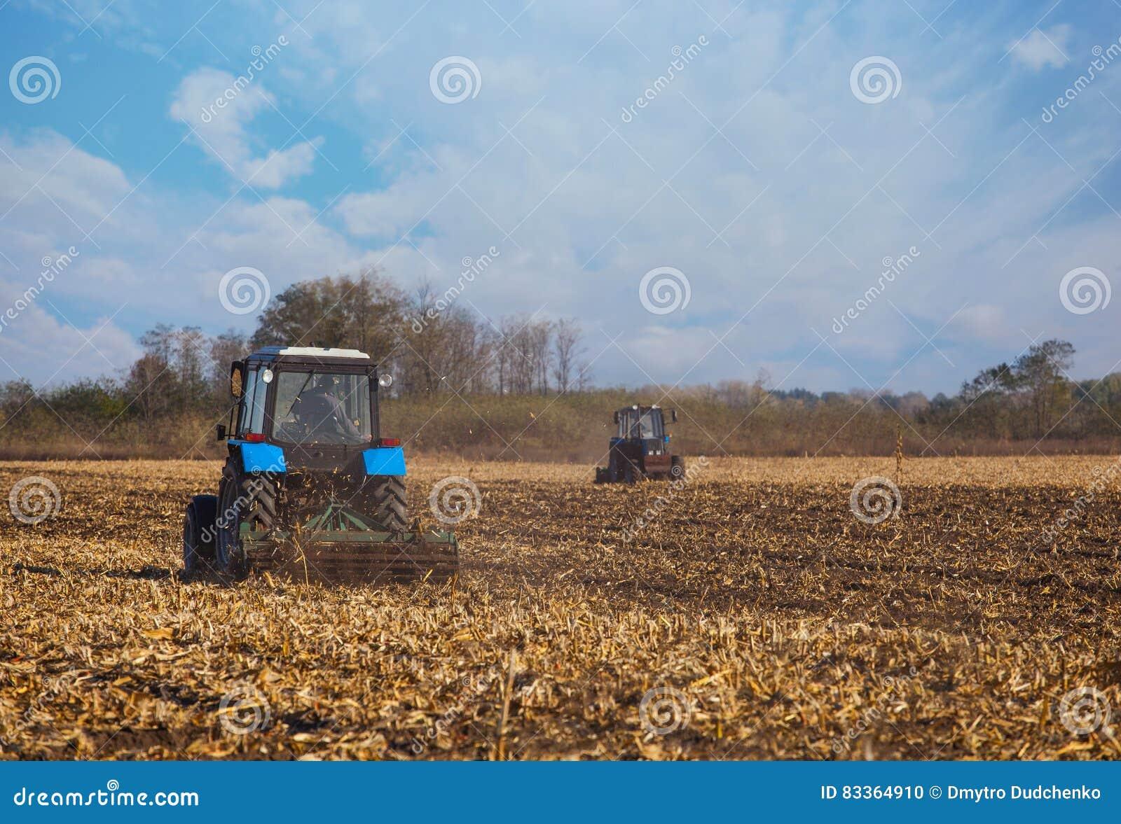 La paleta azul grande del tractor dos aró la tierra después de cosechar la cosecha del maíz