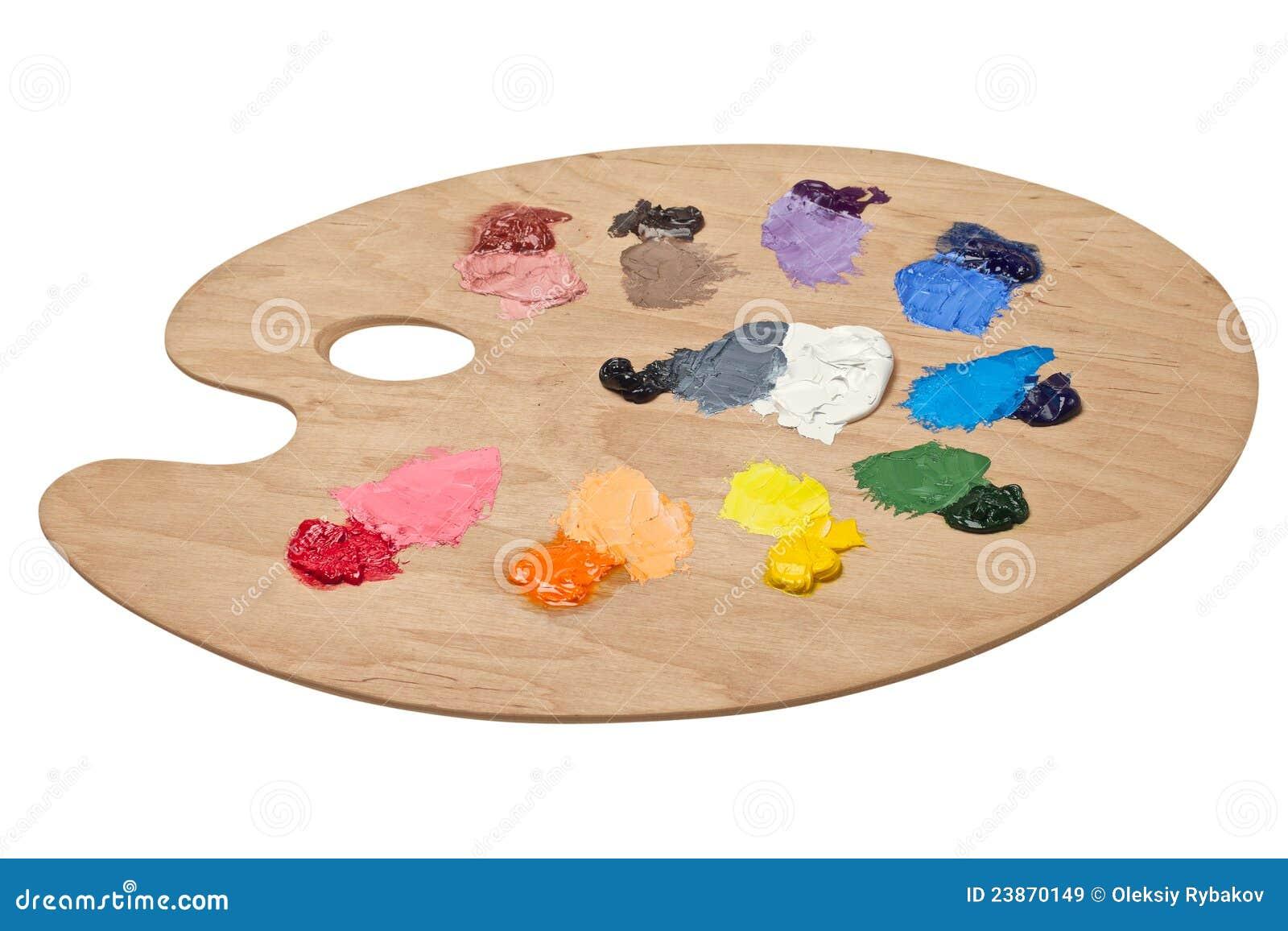 La palette de l 39 artiste avec des couleurs fondamentales for Peinture palette de couleur