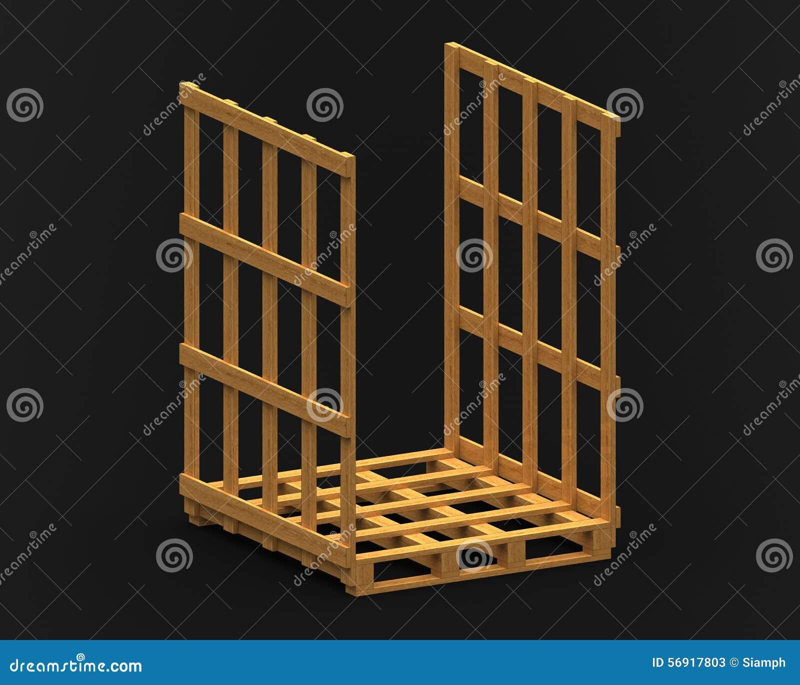 la palette en bois avec le cadre bilat ral 3d rendent. Black Bedroom Furniture Sets. Home Design Ideas