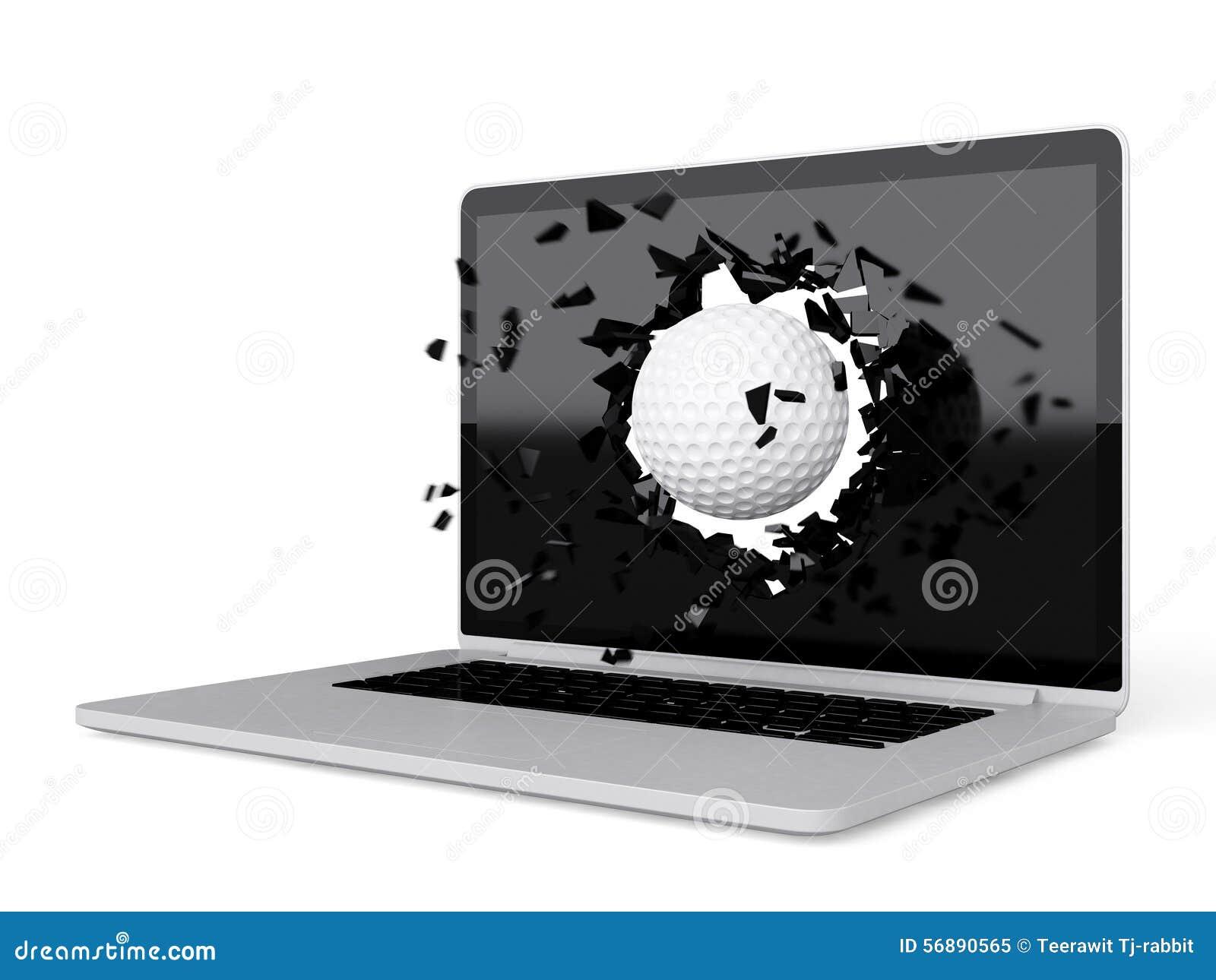La palla da golf distrugge il computer portatile
