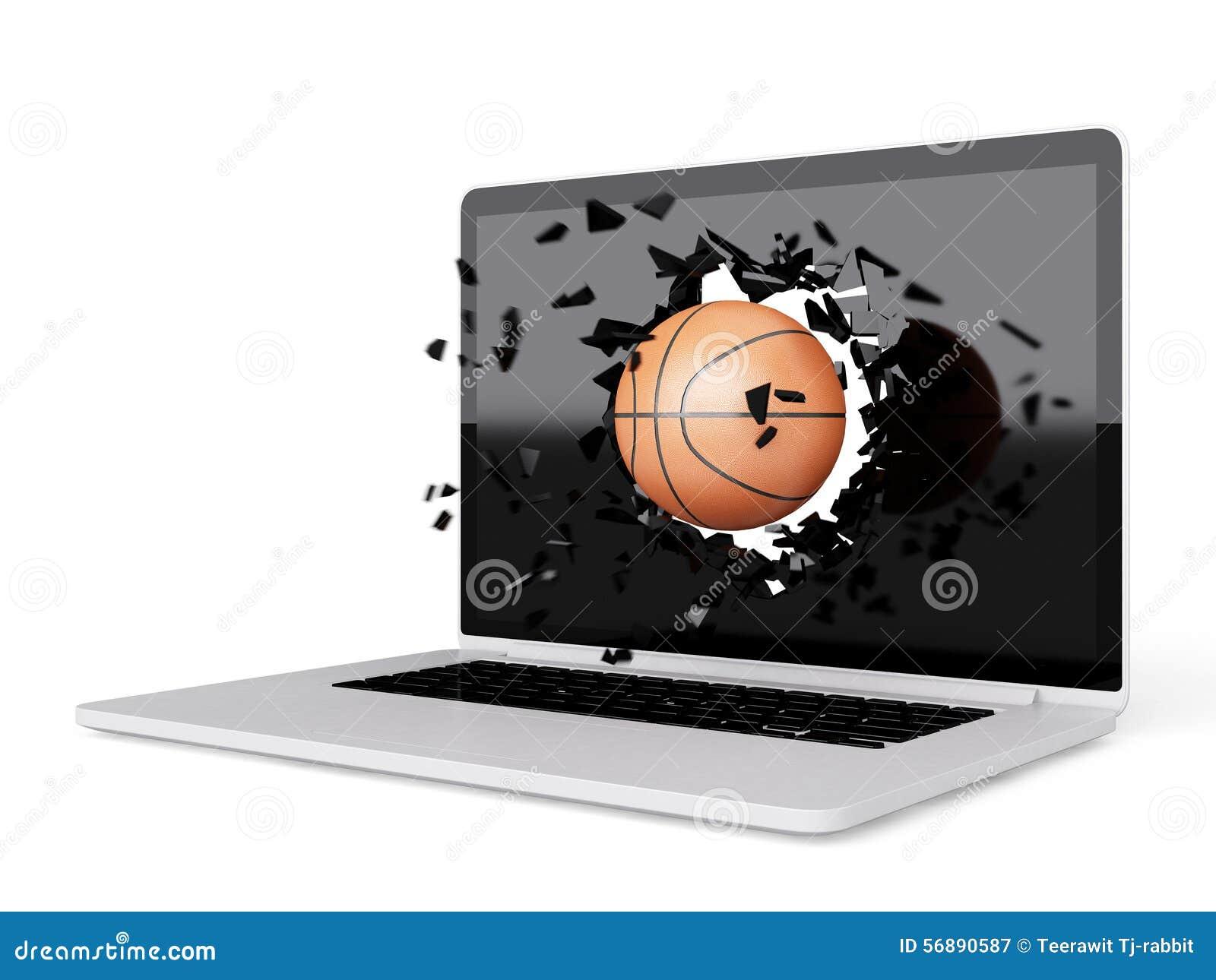 La pallacanestro distrugge il computer portatile