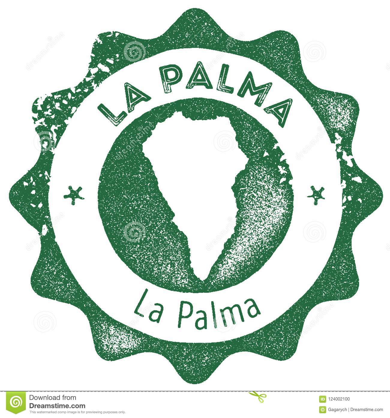 La Palma Map Vintage Stamp. Stock Vector - Illustration of product ...