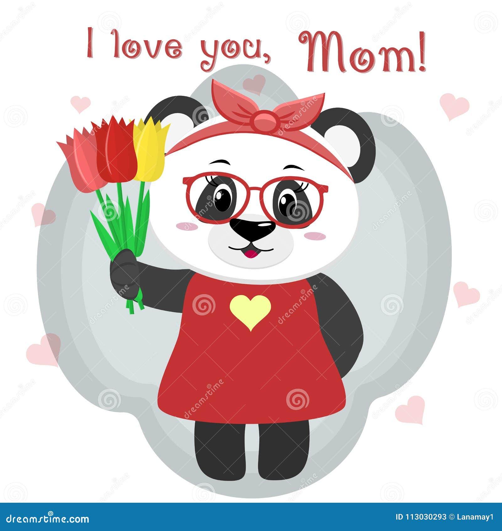 La panda dulce sostiene tres tulipanes Enhorabuena en su día del ` s de la madre, en el estilo de historietas