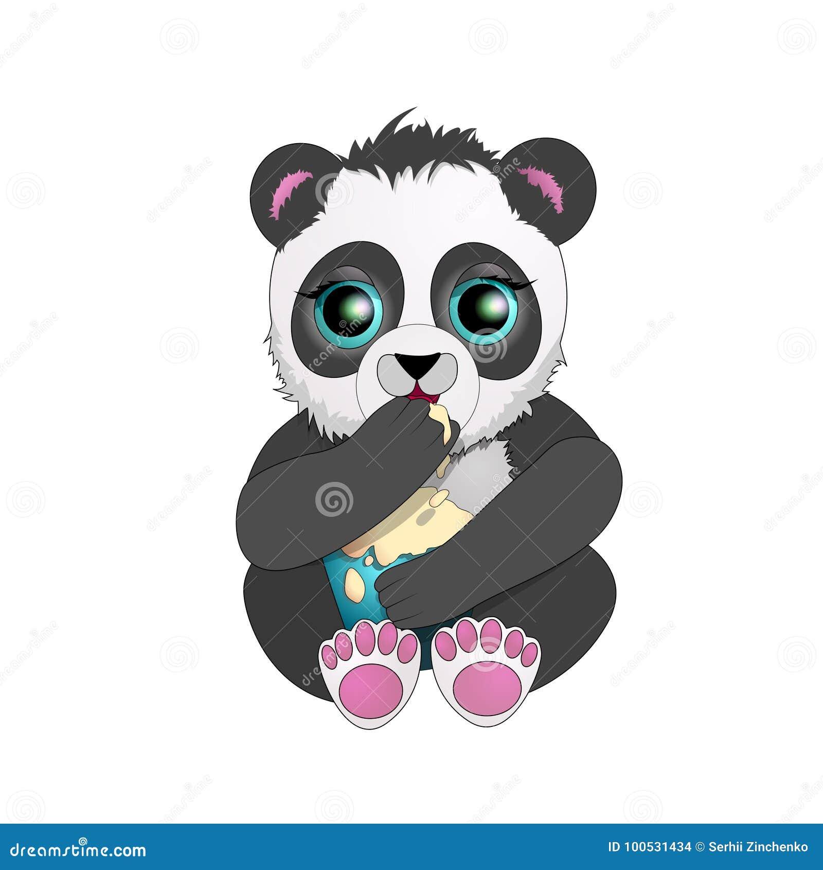 La Panda Hermosa Con Los Ojos Grandes Come El Helado