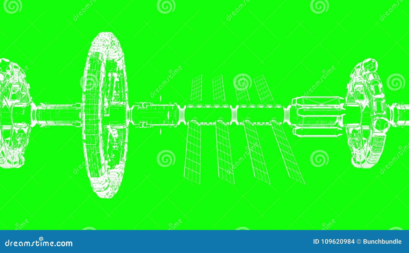 La Pantalla Verde Dibujo Técnico Abstracto Se Mueve Horizontalmente