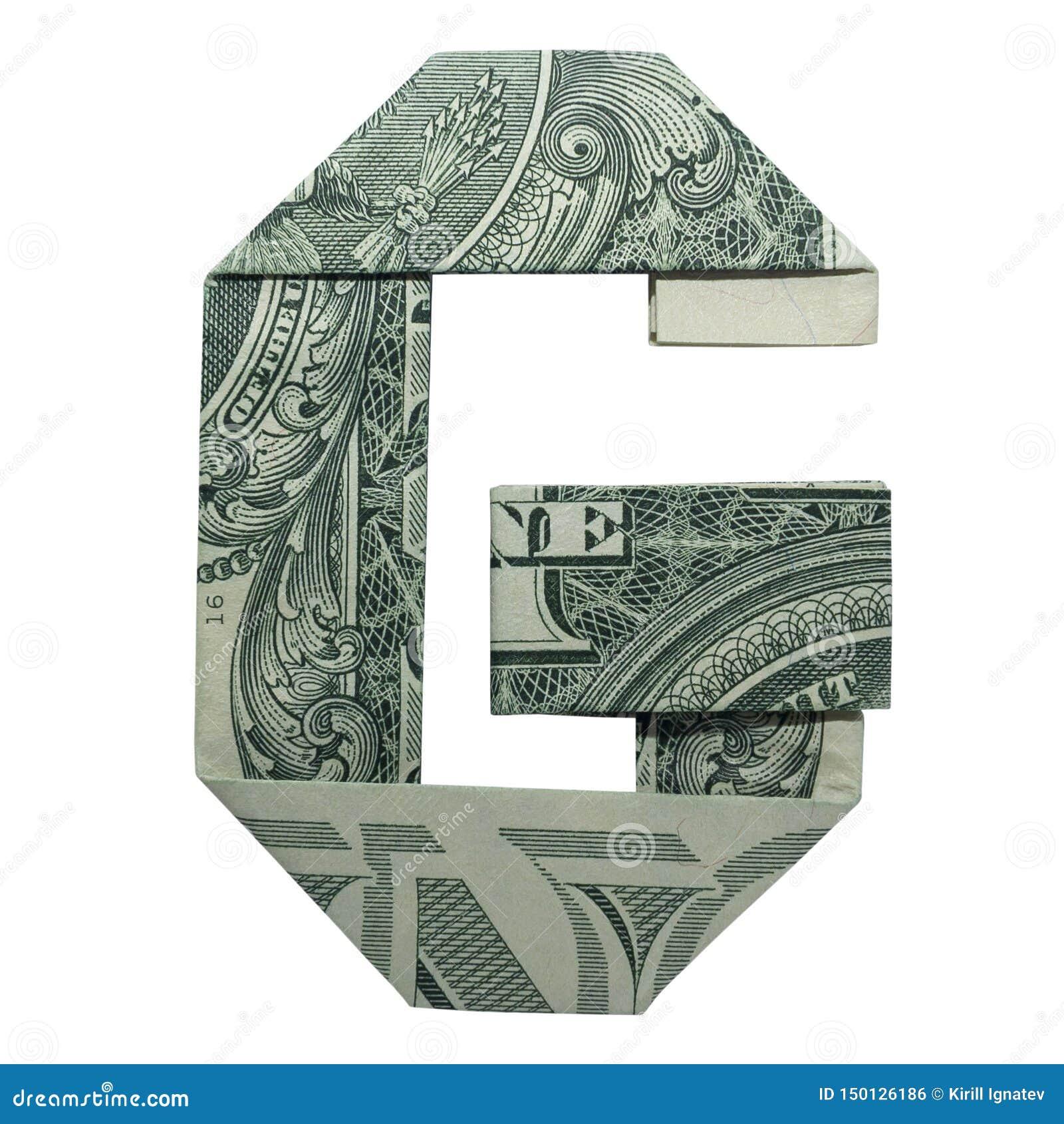 La papiroflexia del dinero LETRA el carácter de G dobló con el un dólar real Bill Isolated
