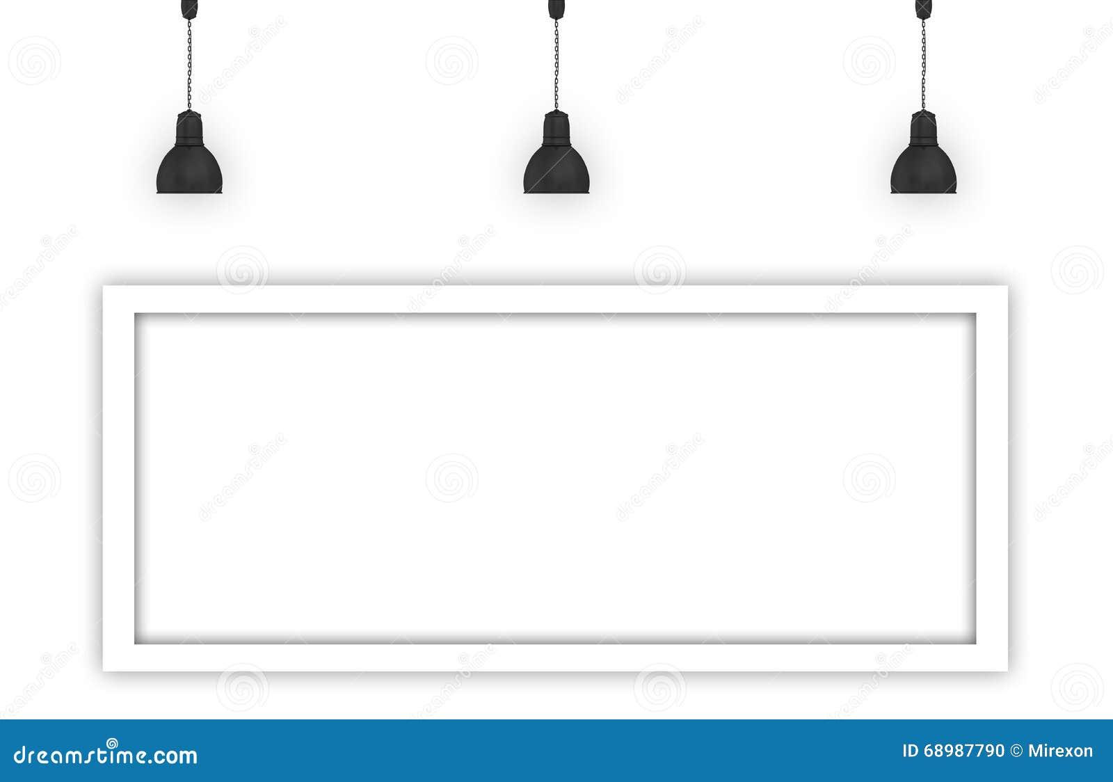 La pared blanca iluminada por las lámparas vacia la cartelera del espacio