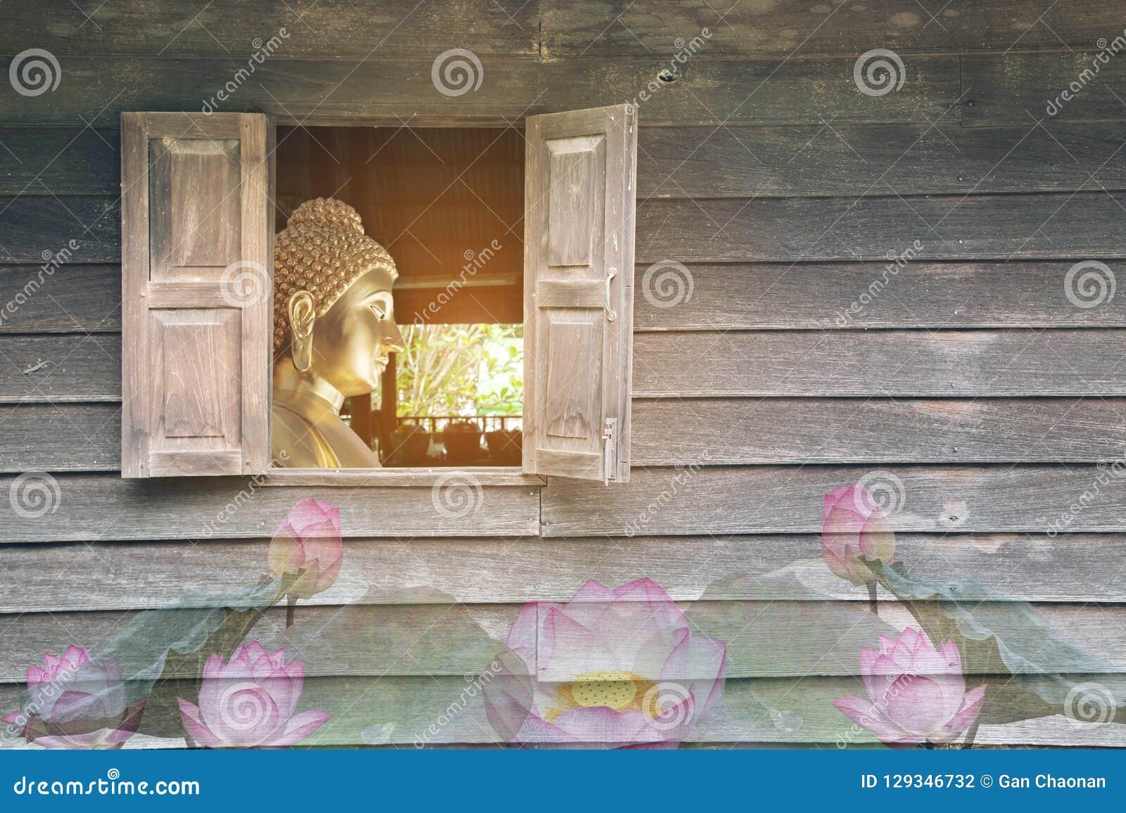 La pared de madera vieja, que tiene las ventanas del Buda que representa al budista budista, budista, asiático, muy se respeta, e