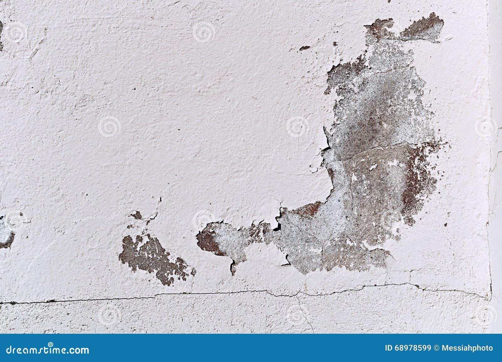 La pared de piedra vieja texturizada con las grietas curvadas y la peladura envejecieron el estuco en tonos naturales