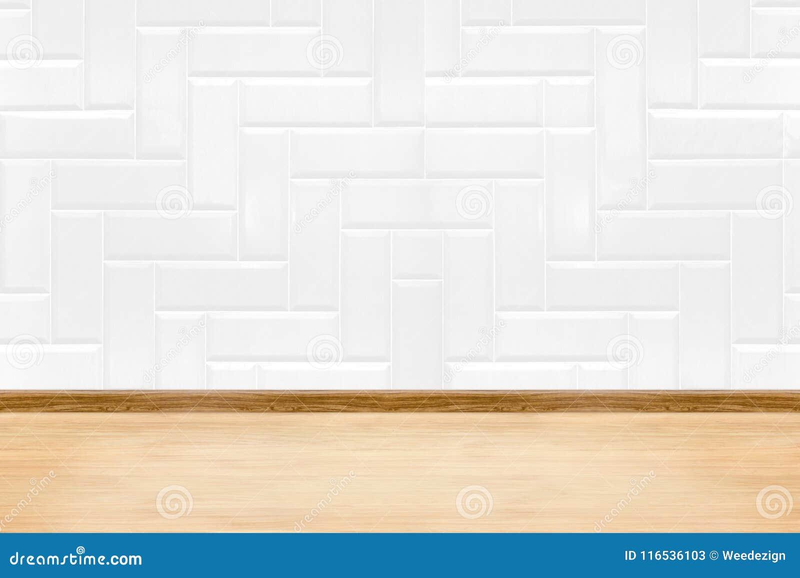 37777e754e8a5 La pared limpia blanca vacía y la madera de la baldosa cerámica suelan el  fondo